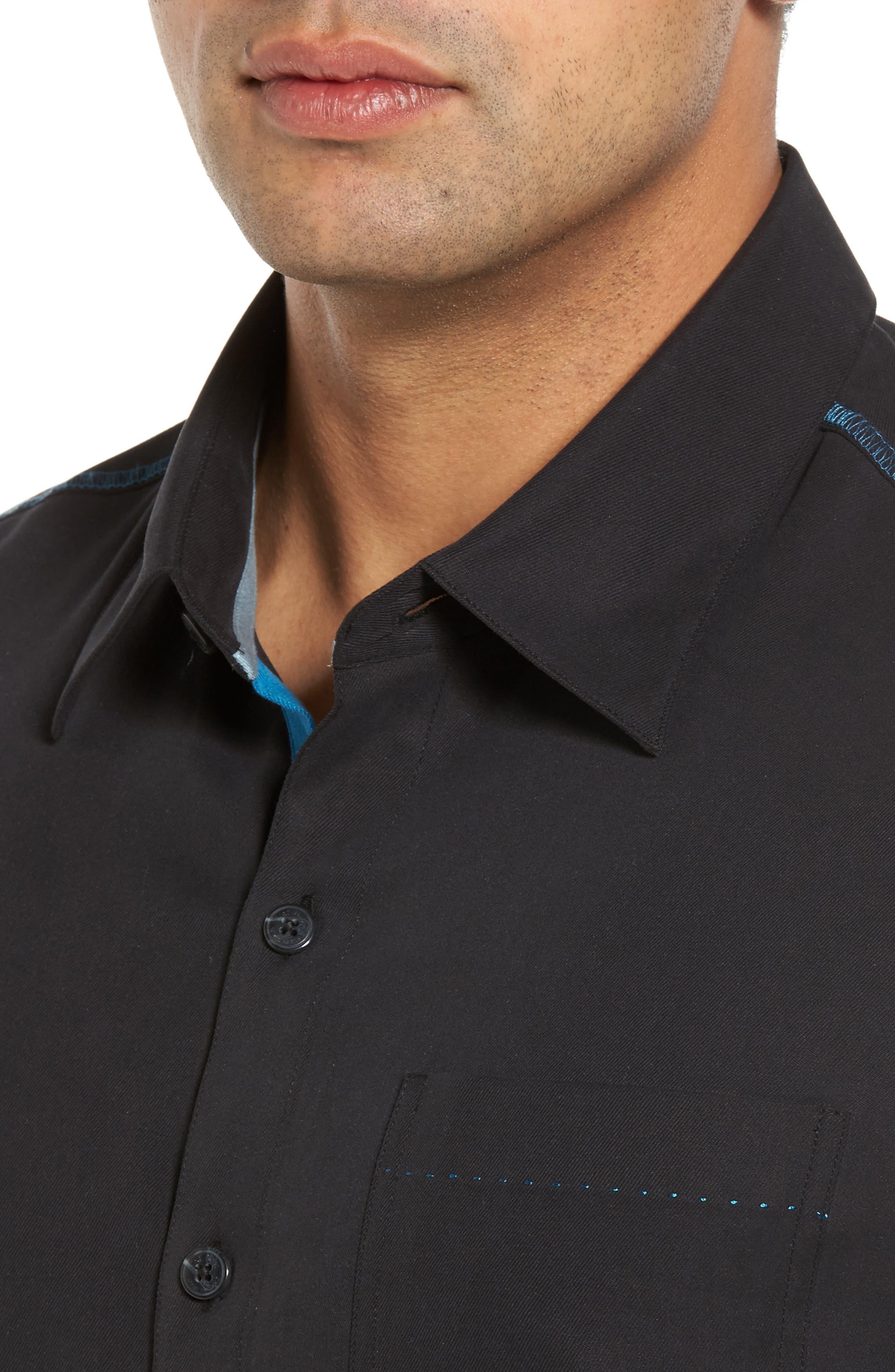 New Originals Silk Sport Shirt,                             Alternate thumbnail 4, color,                             Black