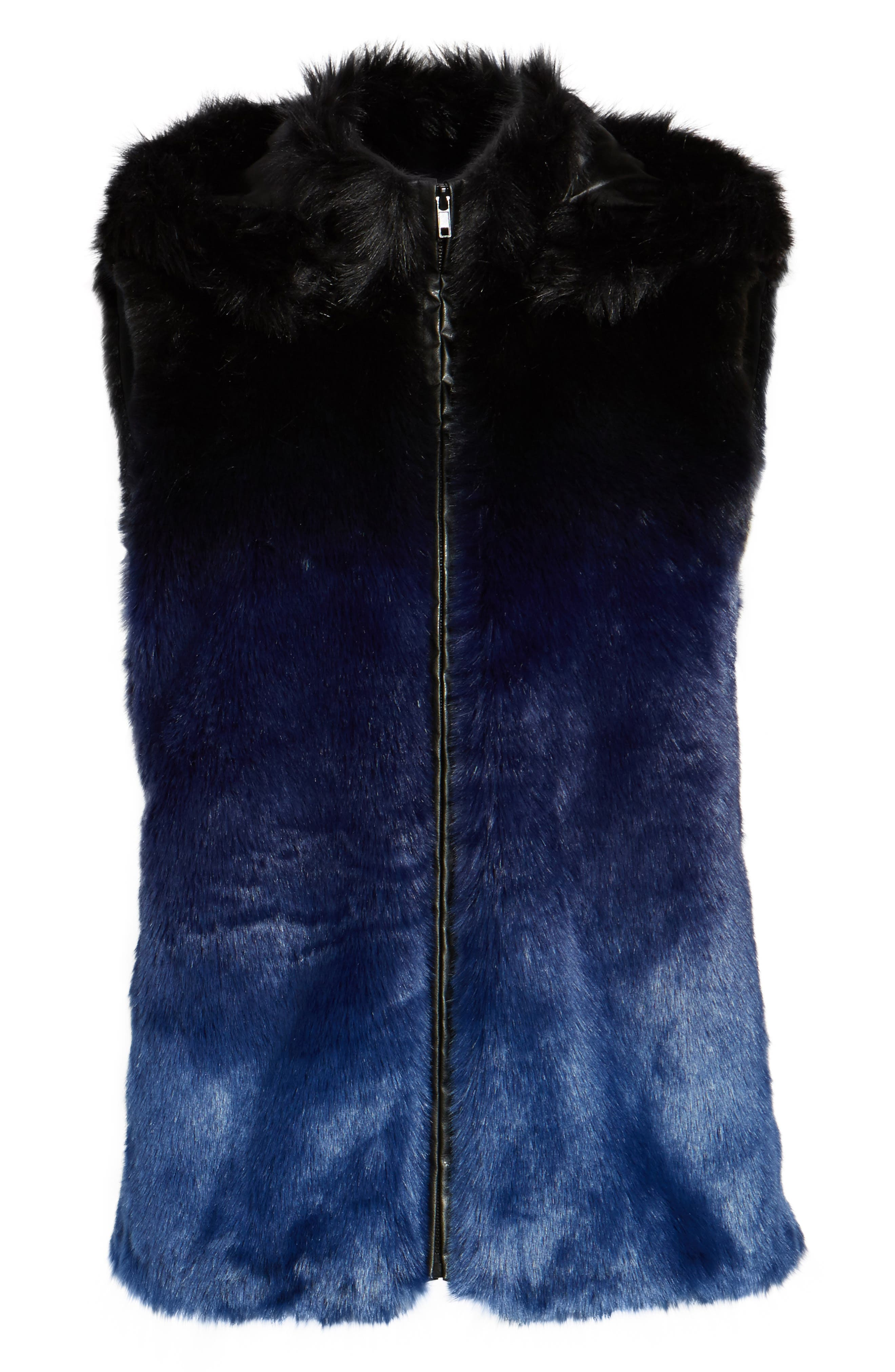 Ryan Ombré Faux Fur Hooded Vest,                             Alternate thumbnail 6, color,                             Blue