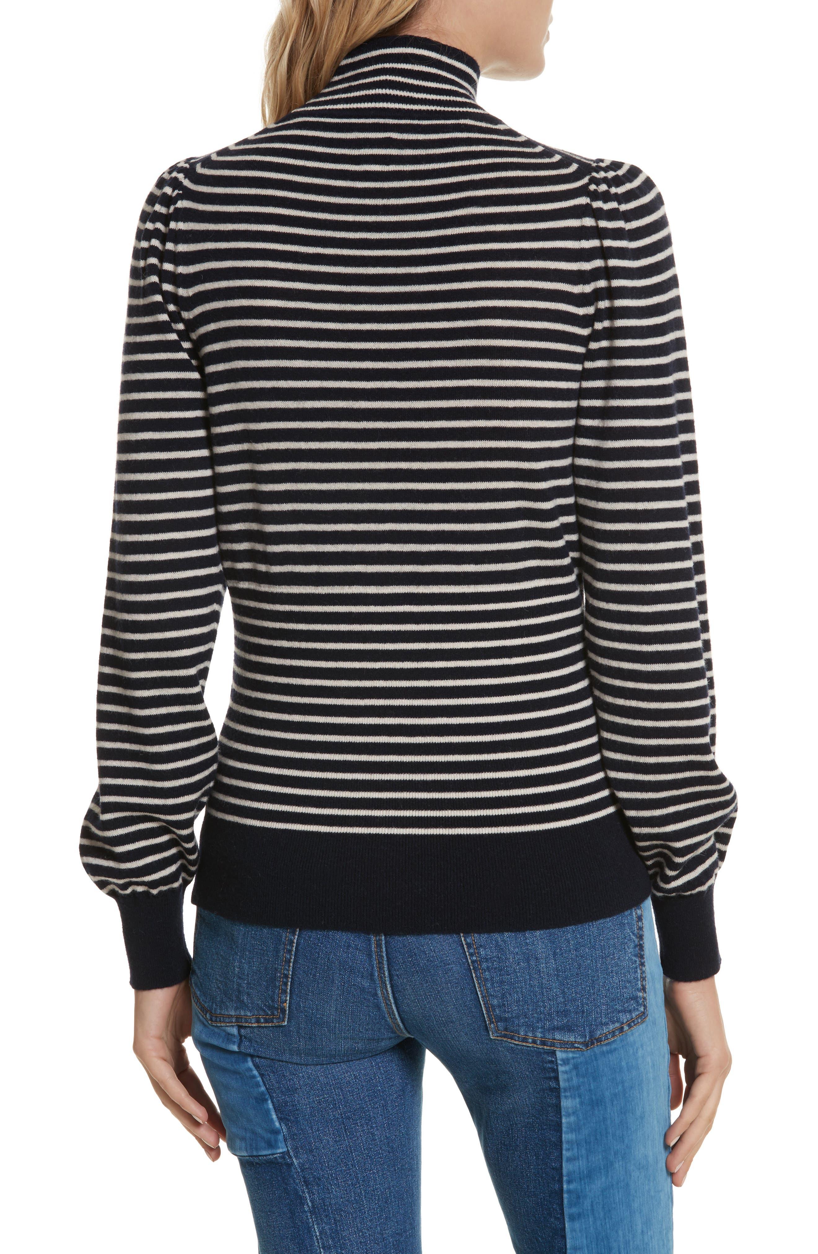 Stripe Stretch Wool Turtleneck,                             Alternate thumbnail 2, color,                             Navy/ Sand