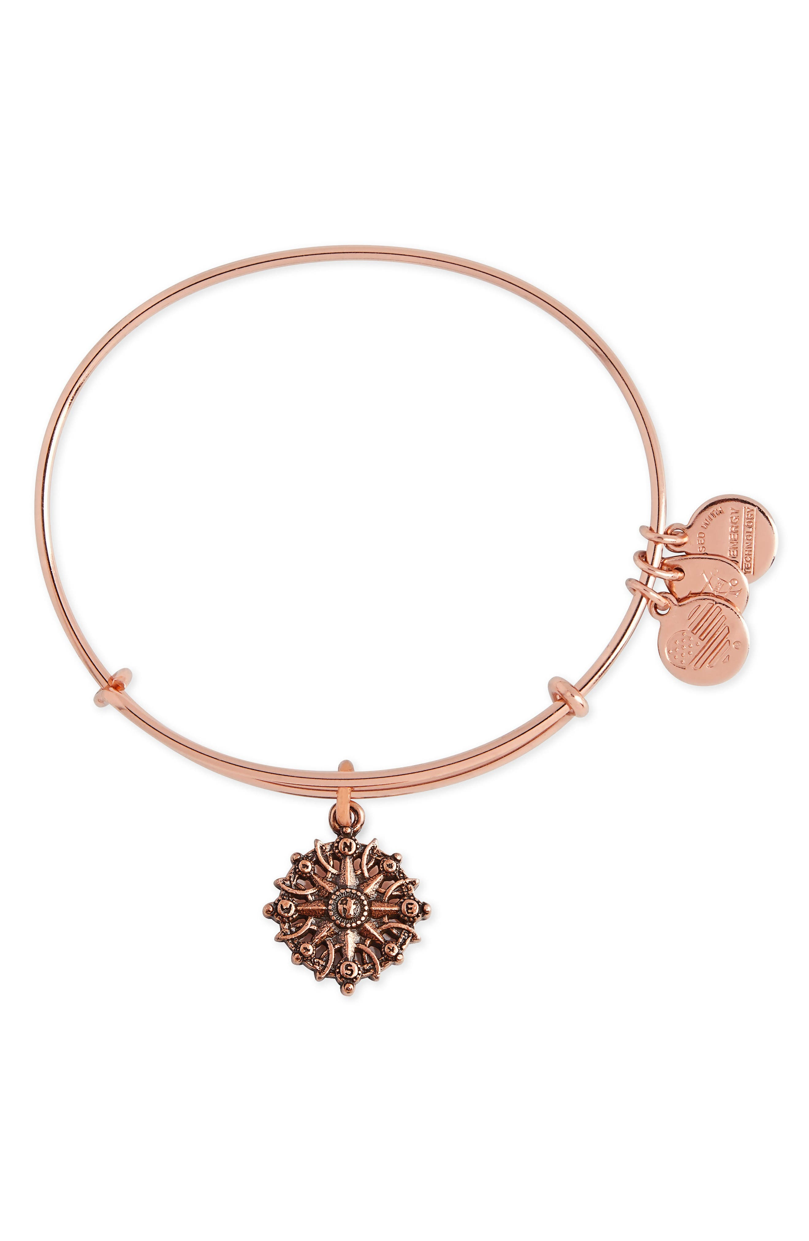 Compass Adjustable Wire Bangle,                             Main thumbnail 1, color,                             Rose Gold
