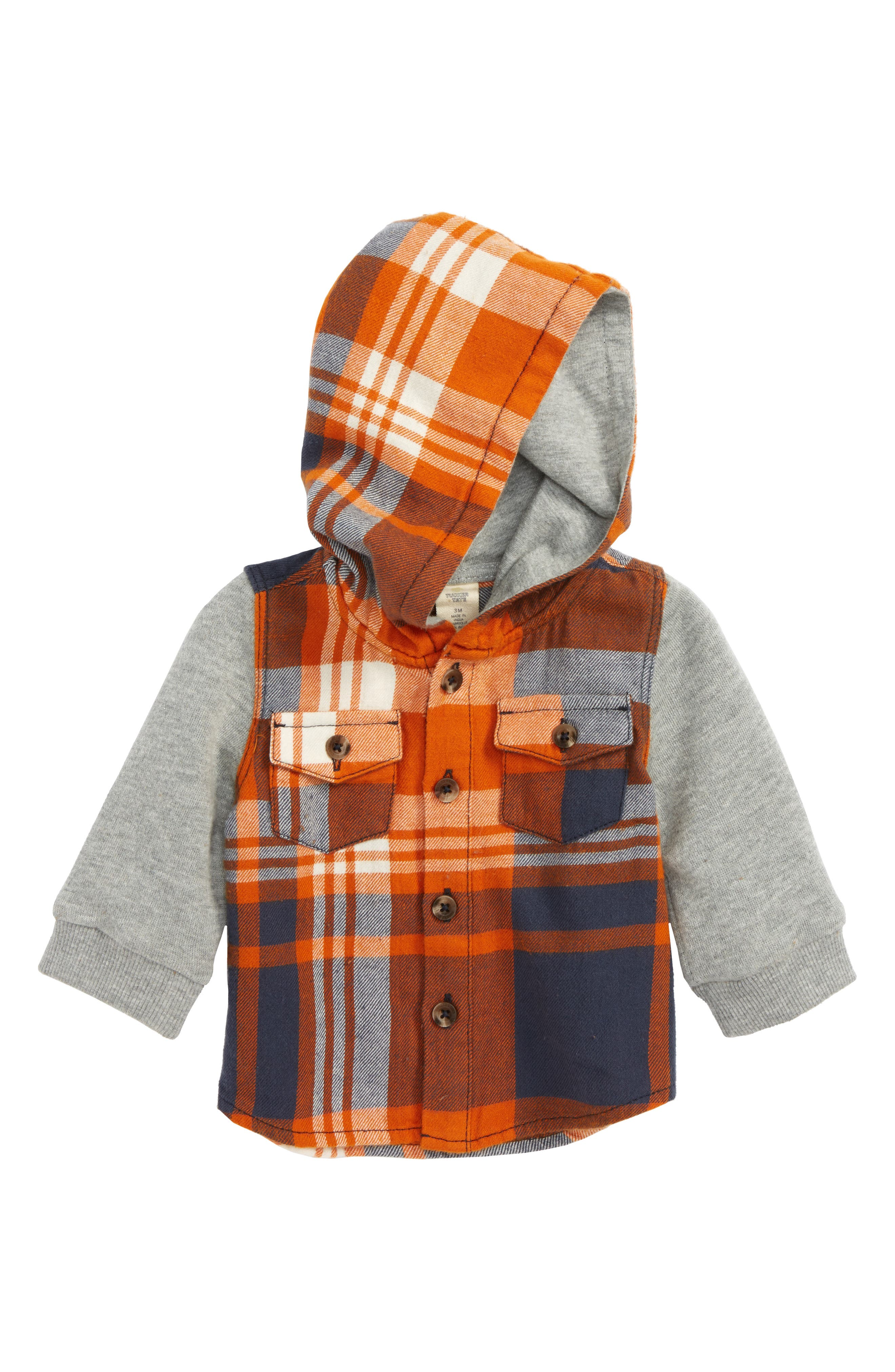 Alternate Image 1 Selected - Tucker + Tate Flannel Hoodie (Baby Boys)