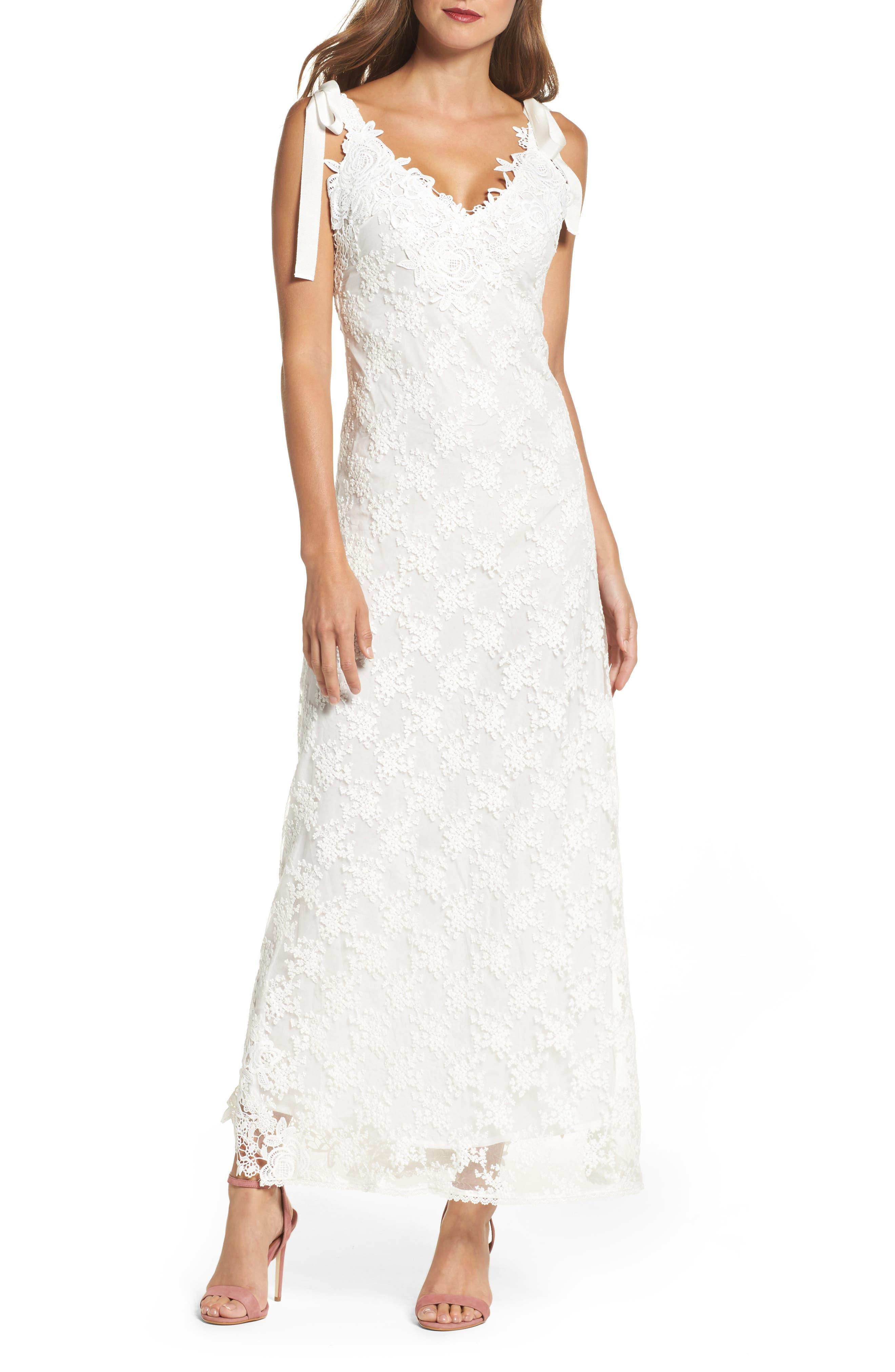 August Shoulder Tie Lace Maxi Dress,                         Main,                         color, Ivory