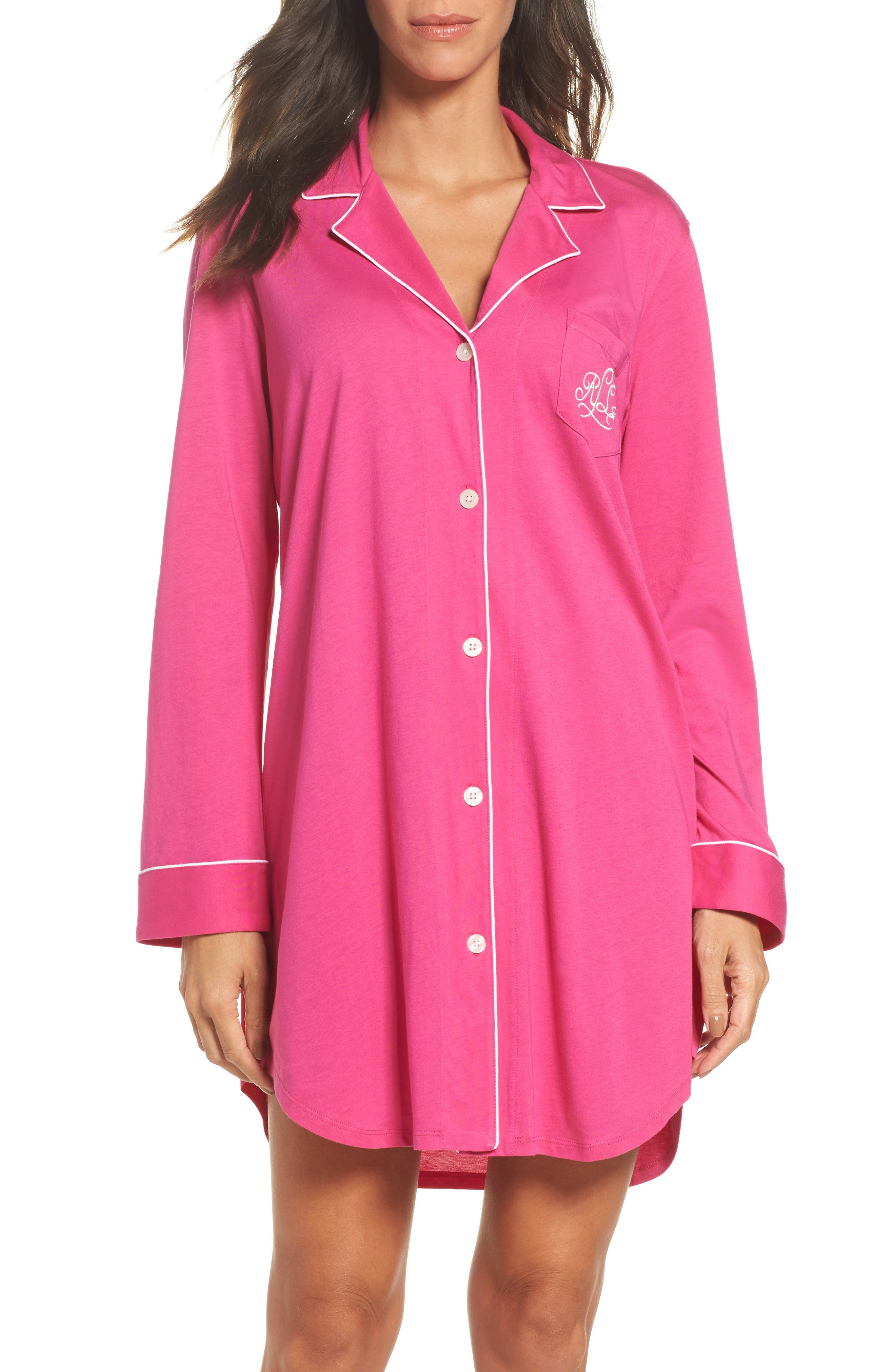 Knit Nightshirt,                             Main thumbnail 1, color,                             Portofino Pink