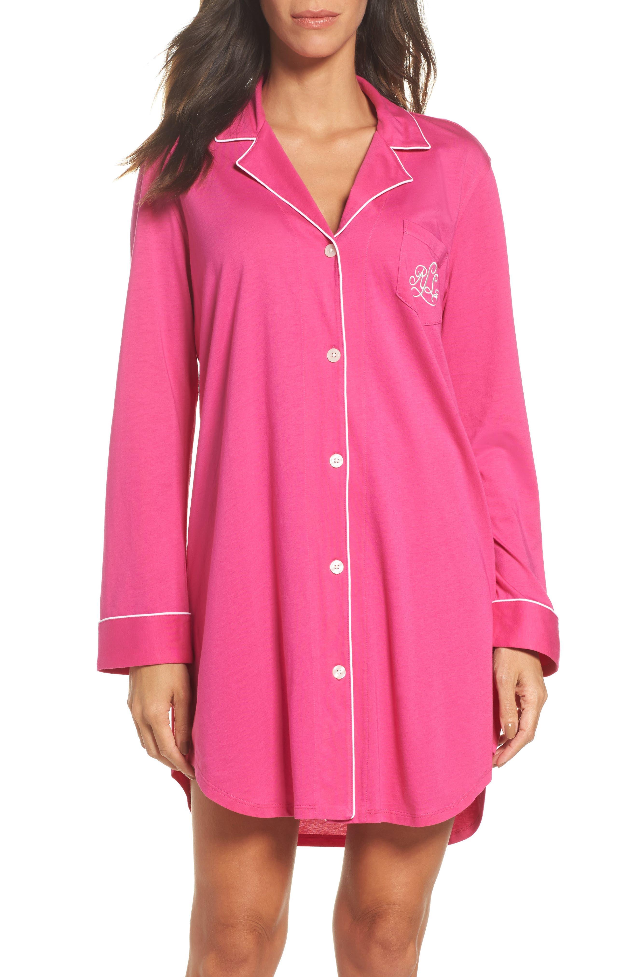 Knit Nightshirt,                         Main,                         color, Portofino Pink