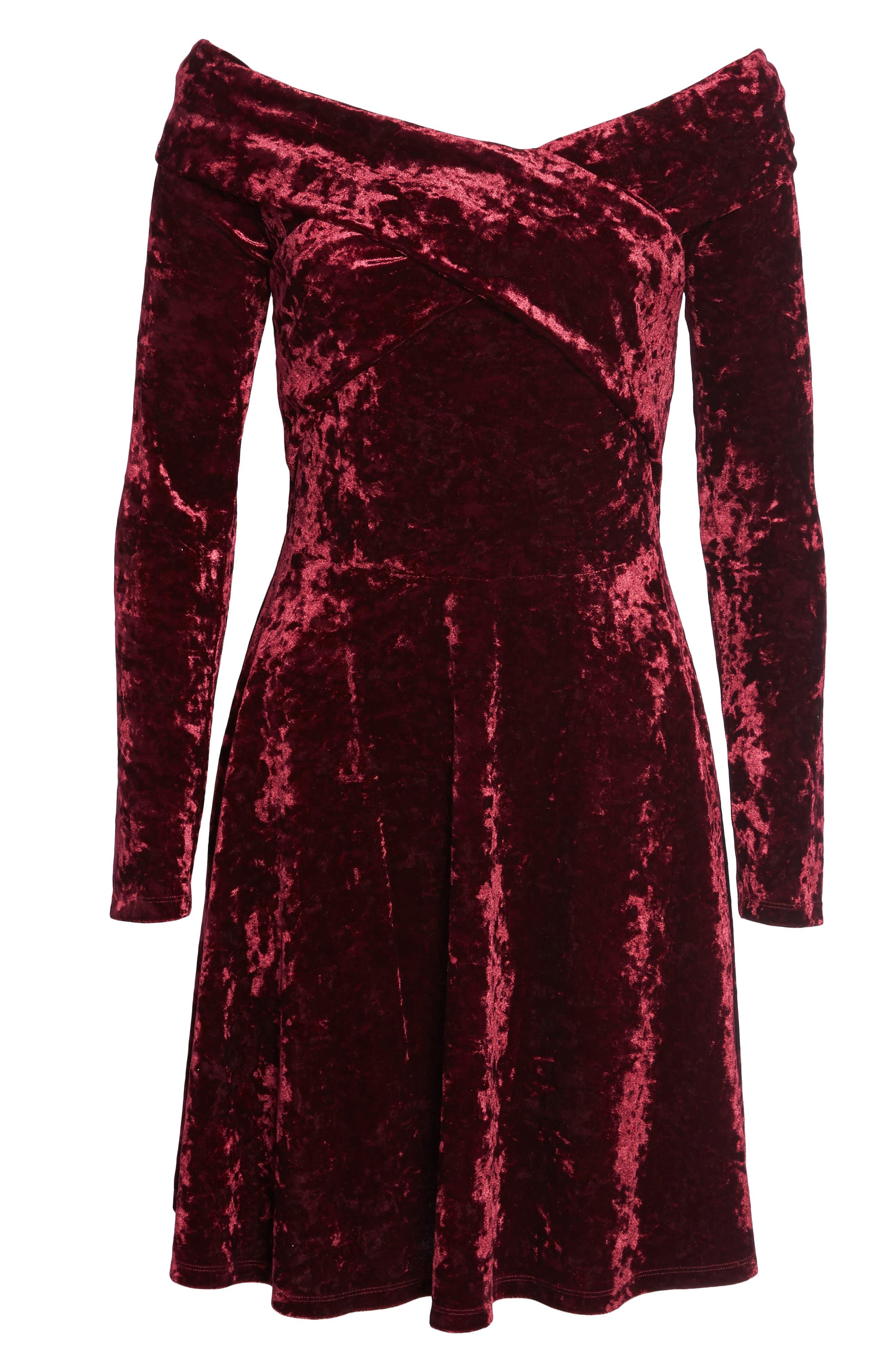 Off the Shoulder Velvet A-Line Dress,                             Alternate thumbnail 6, color,                             Burgundy Fig