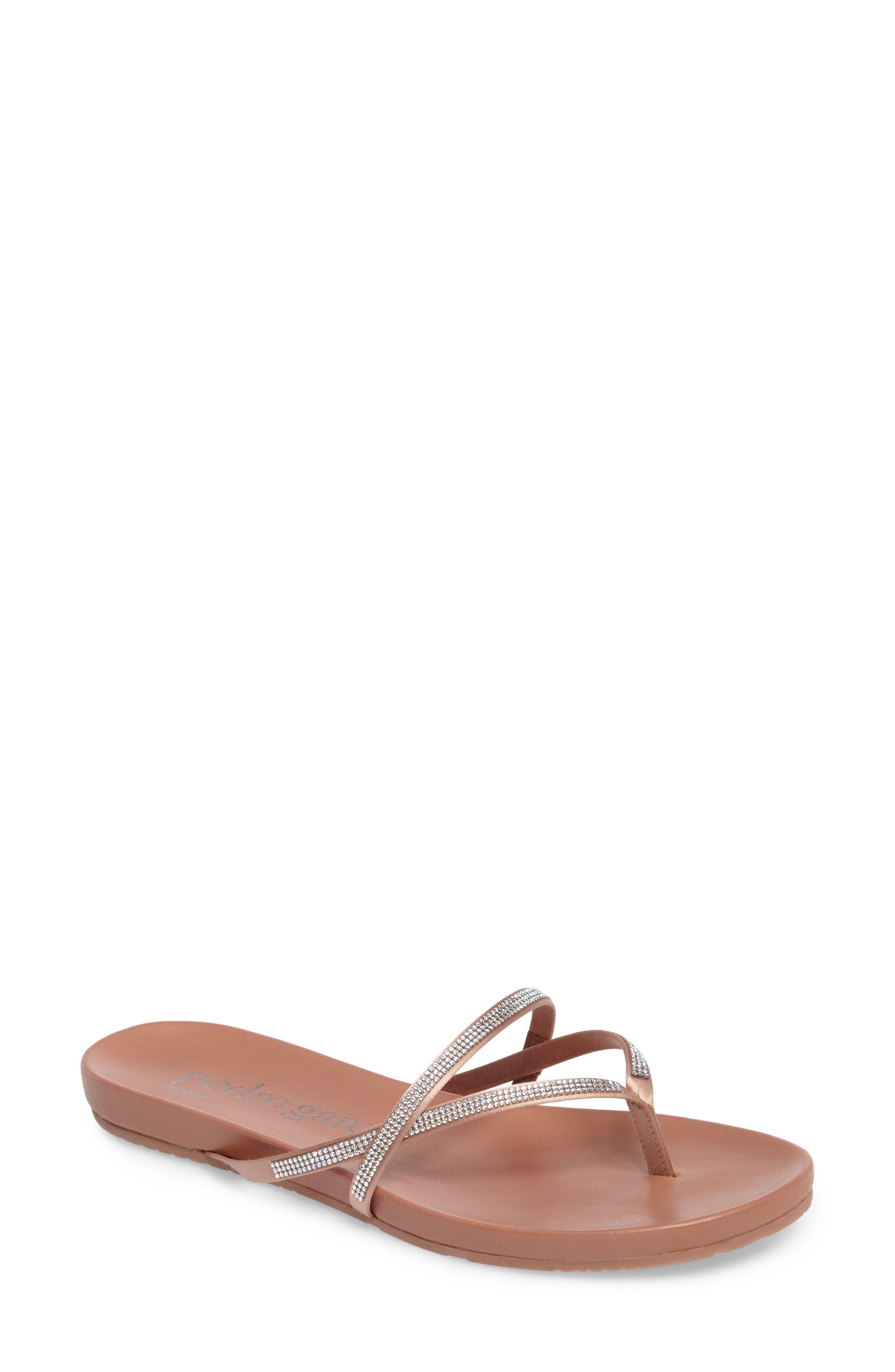 Giulia Crystal Embellished Sandal,                             Main thumbnail 1, color,                             Bisque Satin