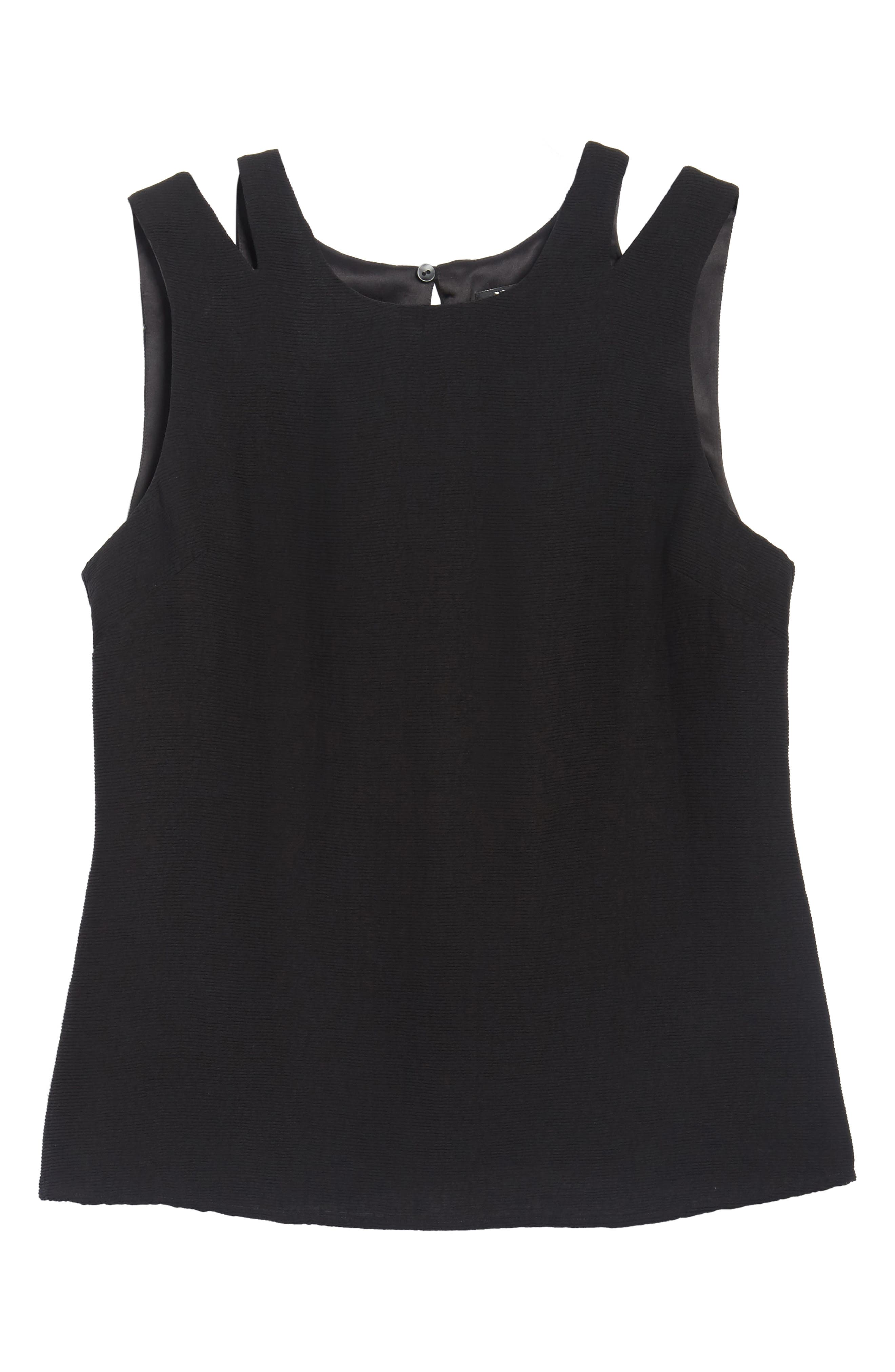 Tiered Texture Tank,                             Alternate thumbnail 6, color,                             Black Onyx