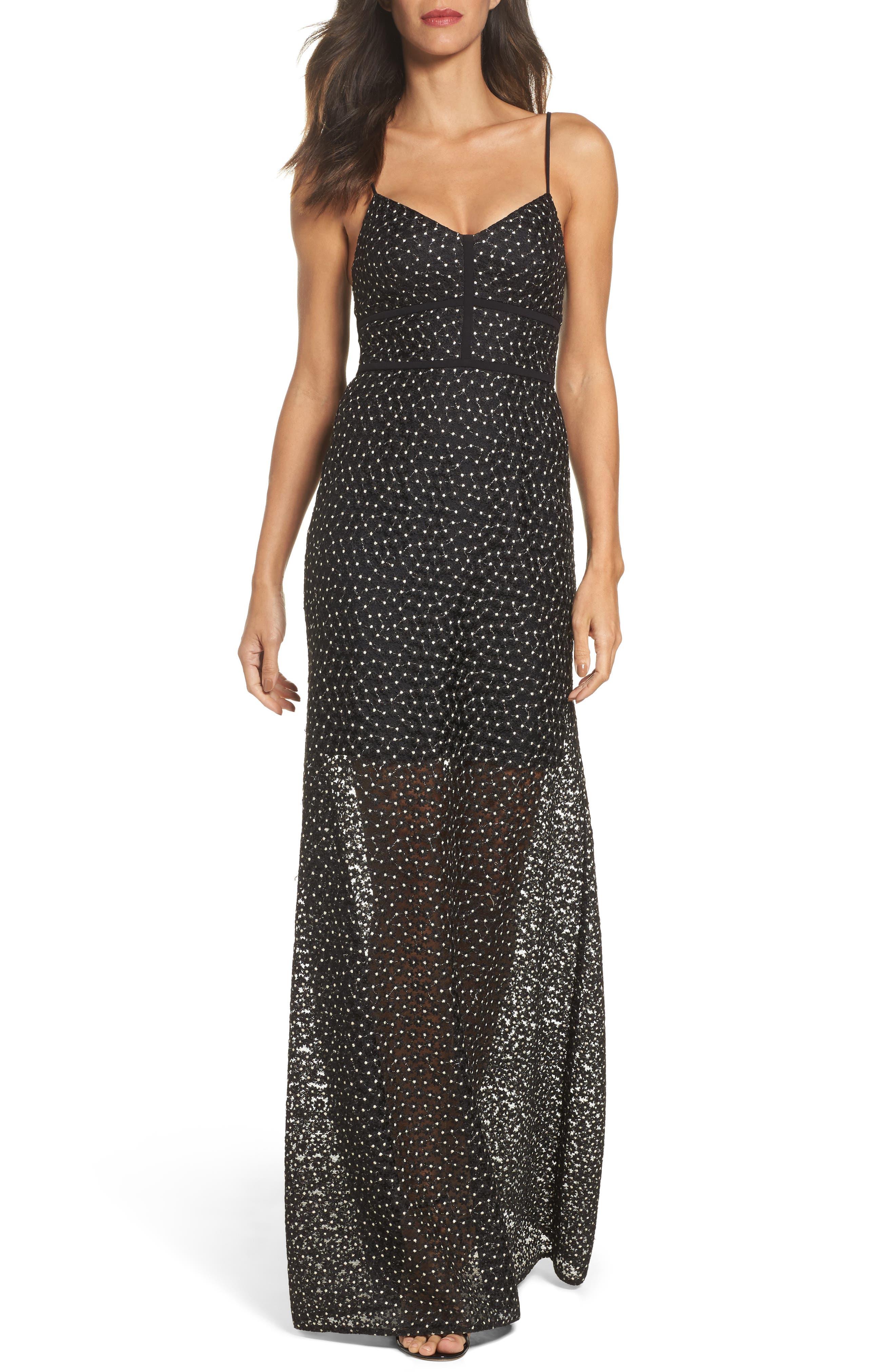 Floral Lace Crepe Gown,                             Main thumbnail 1, color,                             Black