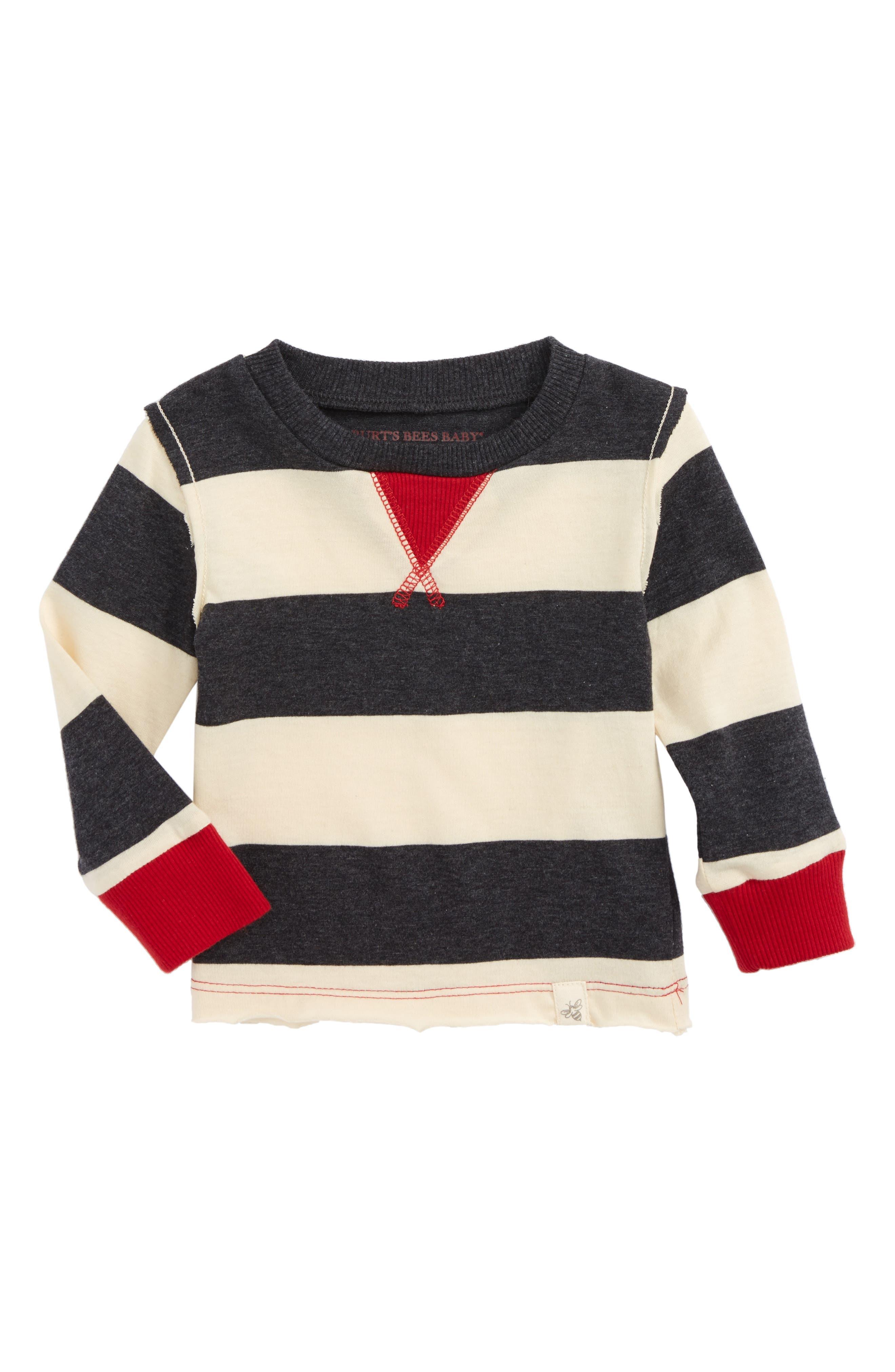 Main Image - Burt's Bees Baby Rugby Stripe Organic Cotton T-Shirt (Baby Boys)