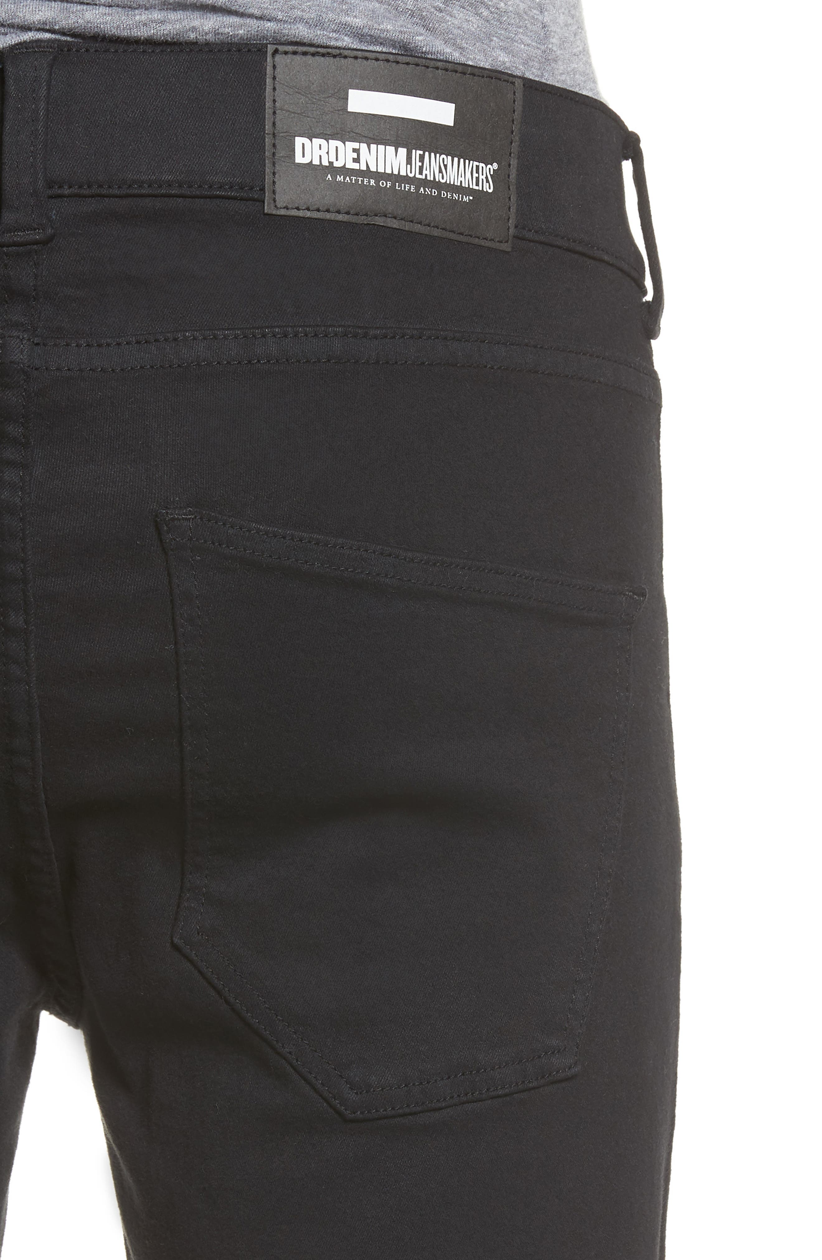 Leroy Slim Fit Jeans,                             Alternate thumbnail 4, color,                             Black Ripped Knees