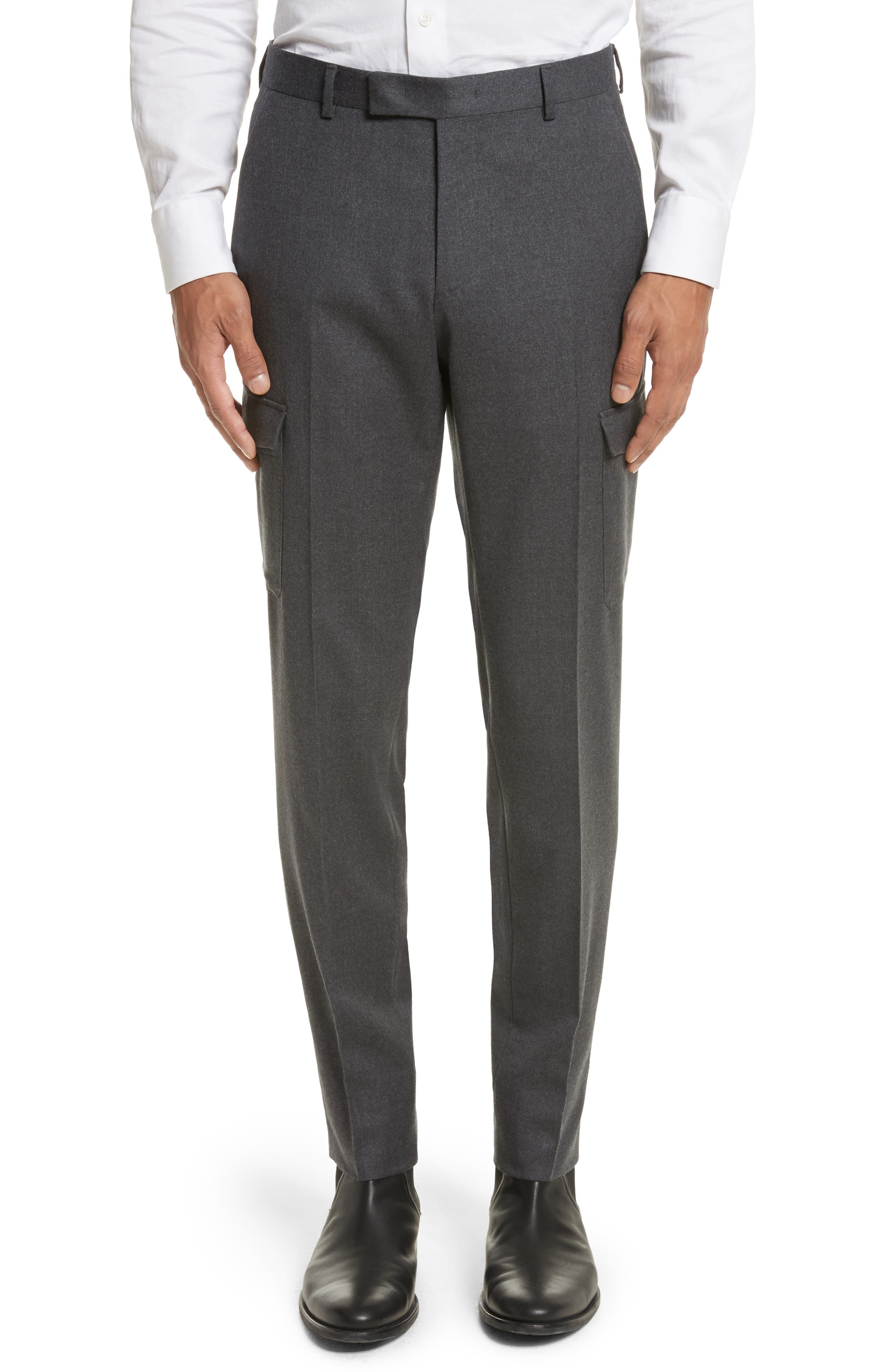 Regular Fit Wool Cargo Trousers,                             Main thumbnail 1, color,                             Dark Grey Solid