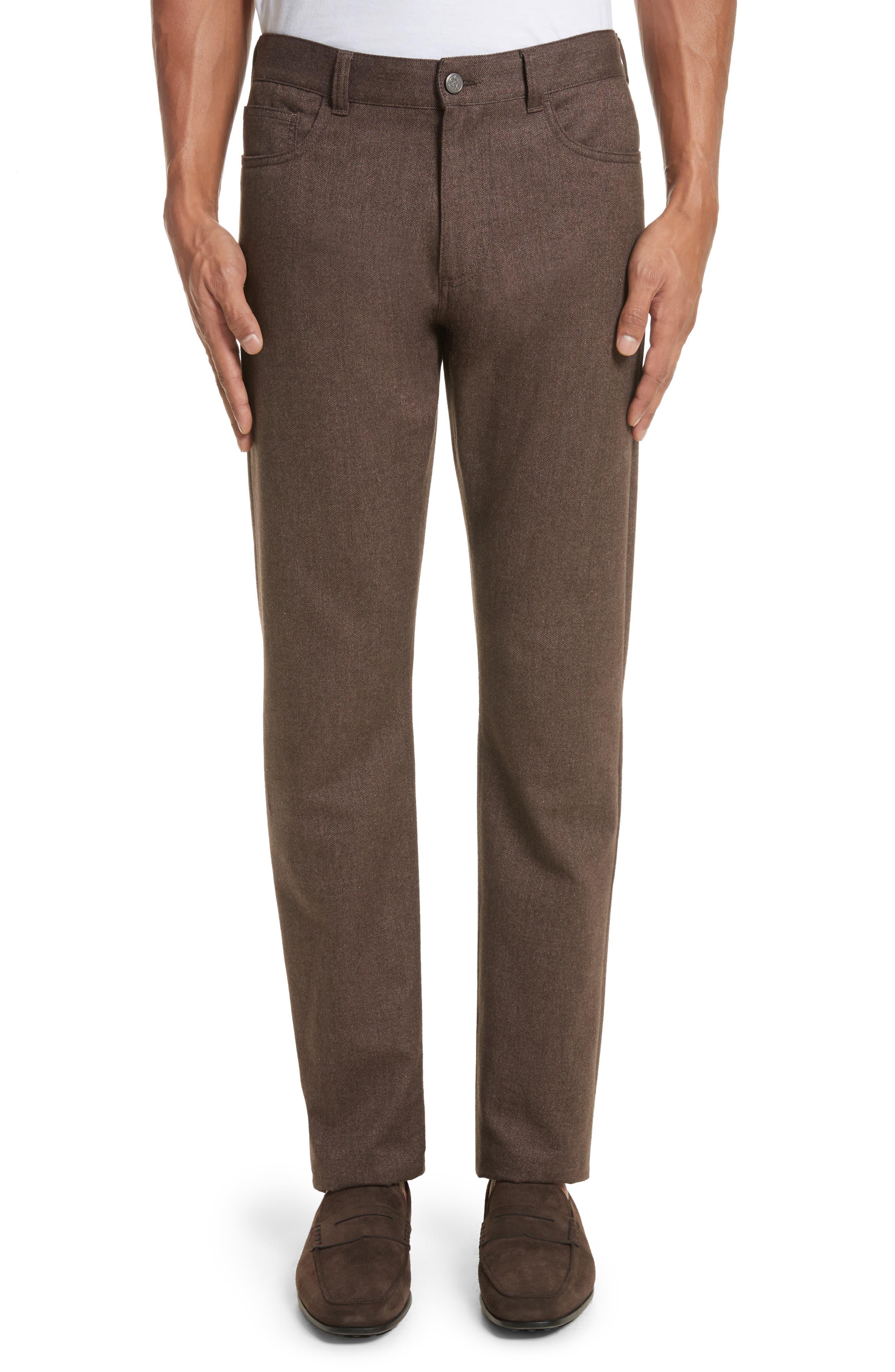 Main Image - Canali Regular Fit Herringbone 5-Pocket Pants