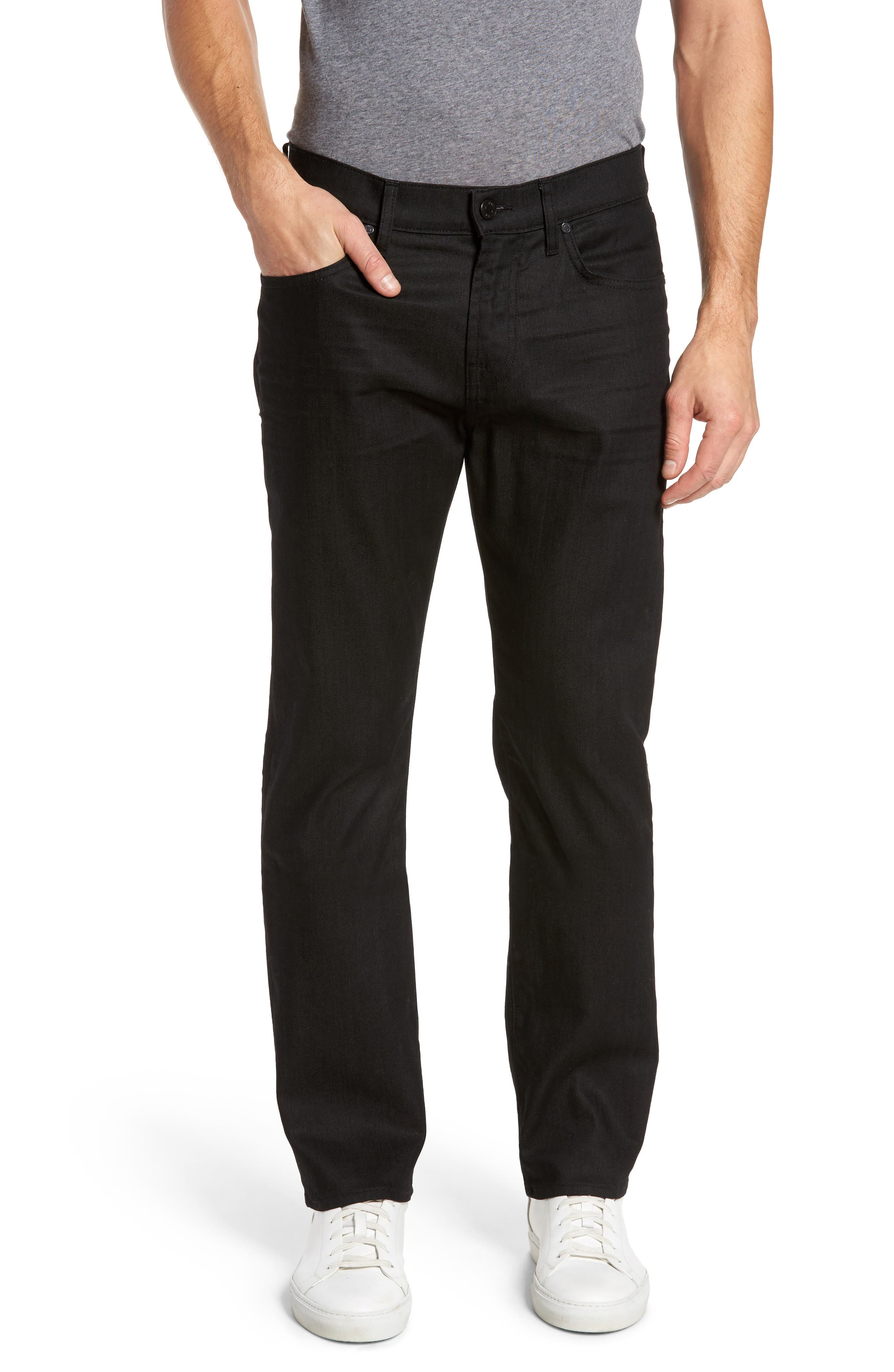 Main Image - 7 For All Mankind® The Straight Slim Straight Fit Jeans (Soirée Black)