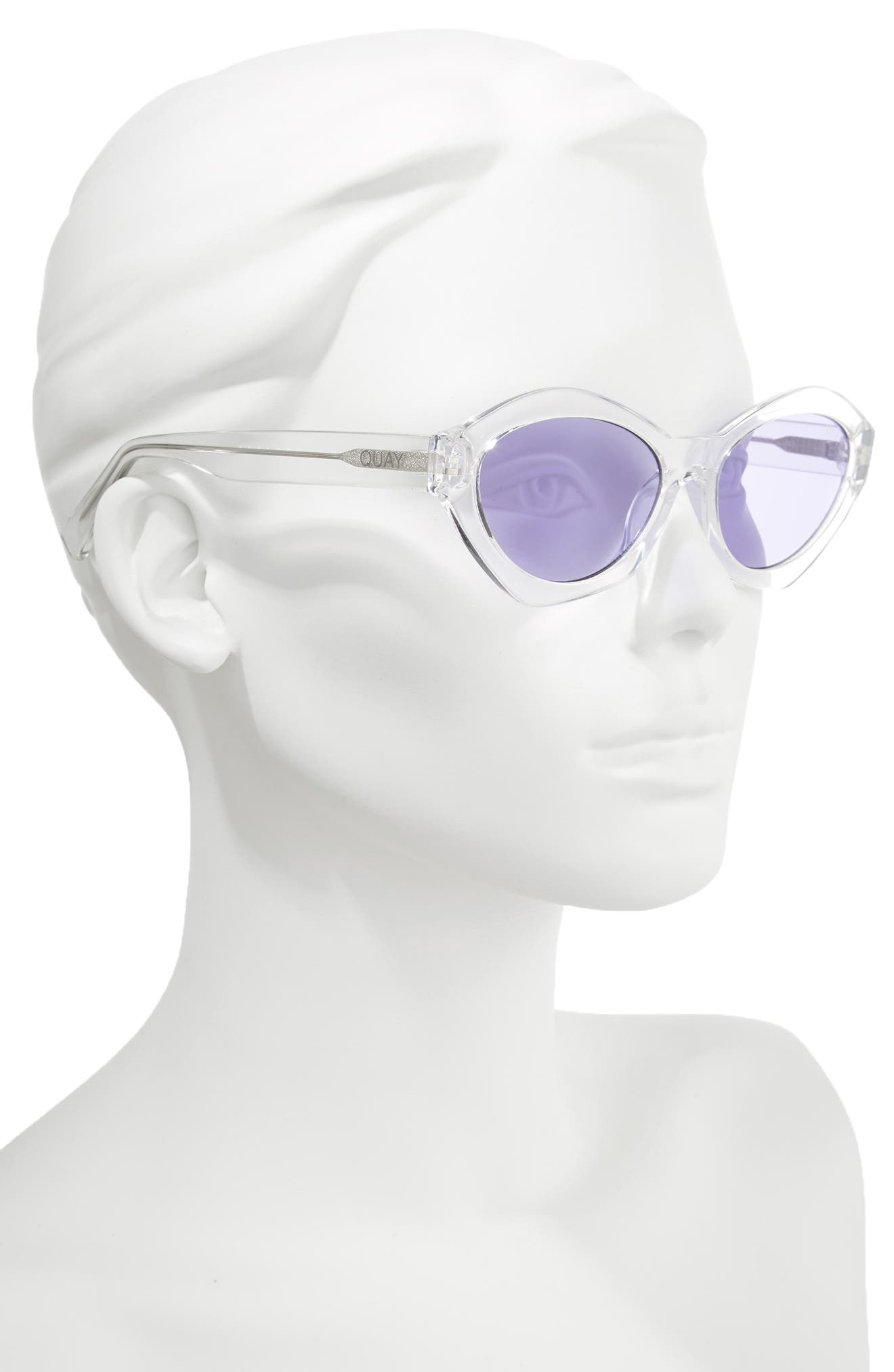54mm As If Oval Sunglasses,                             Alternate thumbnail 3, color,                             Clear/ Purple