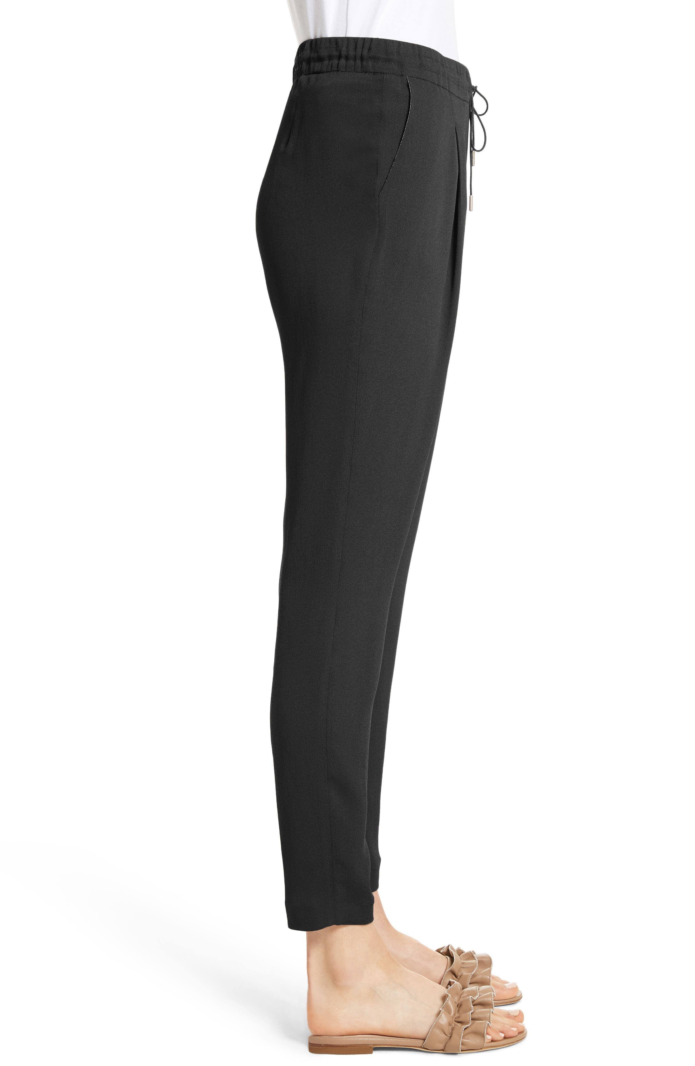 Crop Drawstring Pants,                             Alternate thumbnail 3, color,                             Black