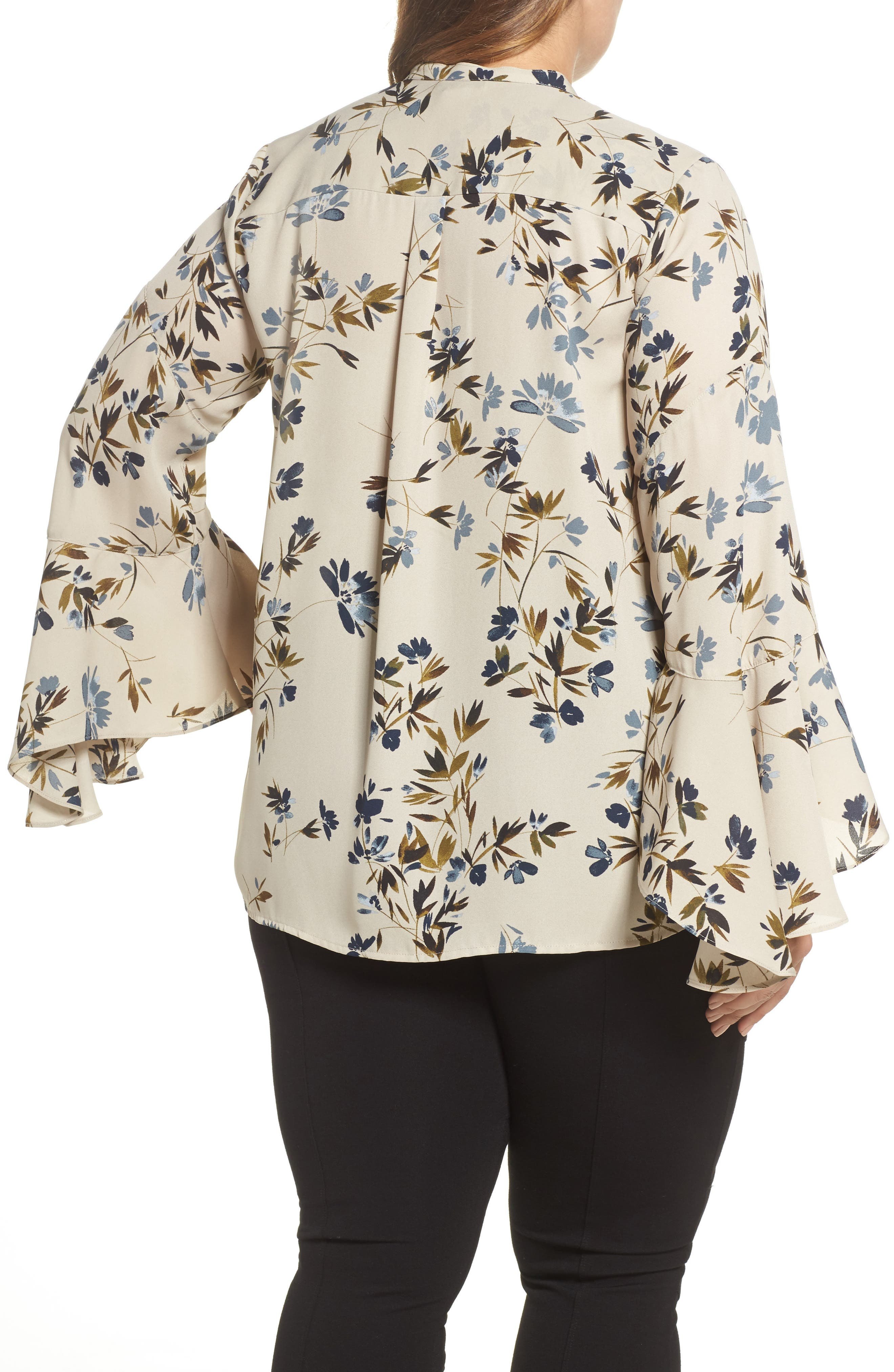 Alternate Image 2  - Vince Camuto Timeless Bouquet Bell Sleeve Blouse (Plus Size)