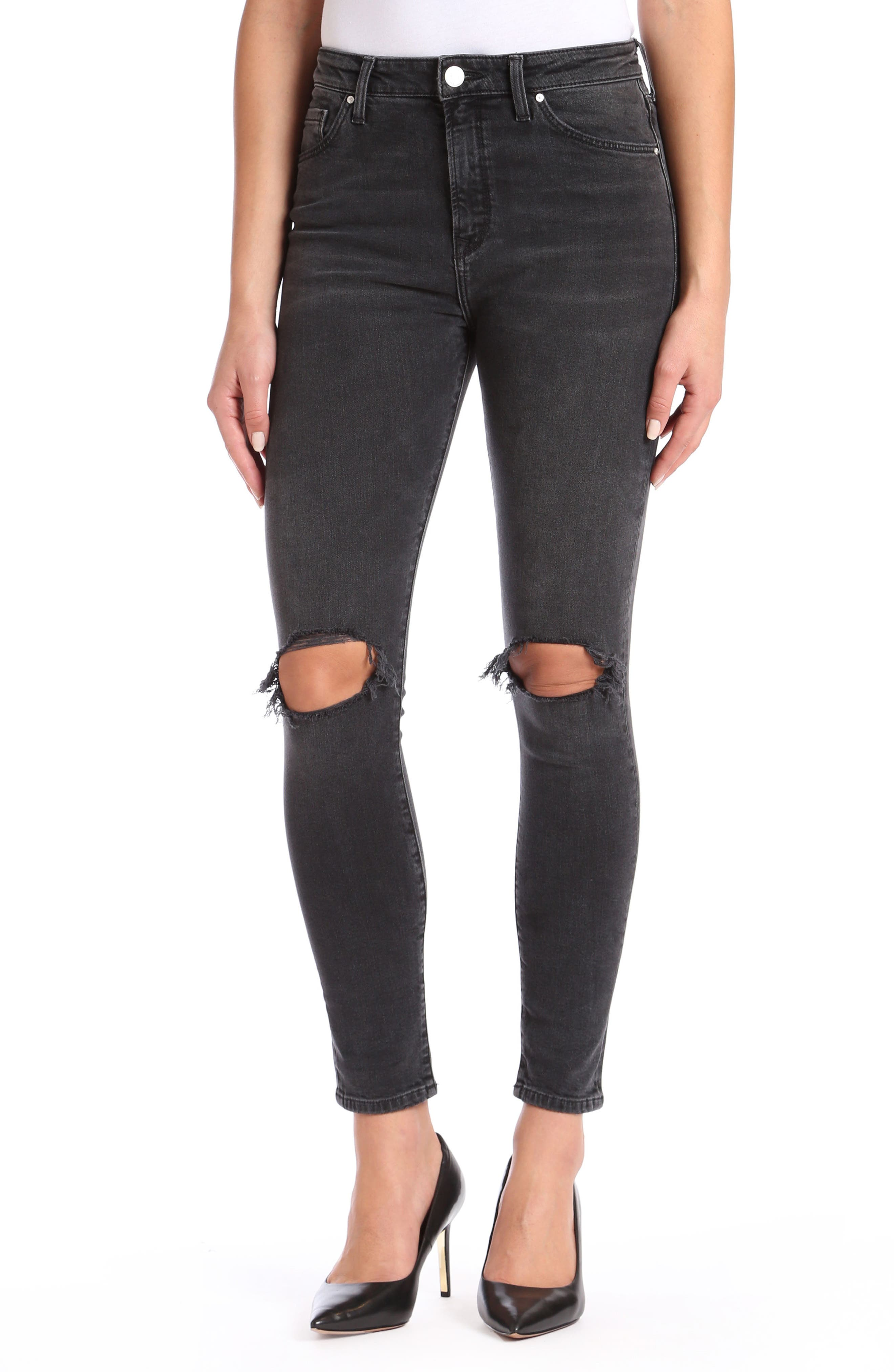 Main Image - Mavi Jeans Lucy Ripped Super Skinny Jeans (Smoke)