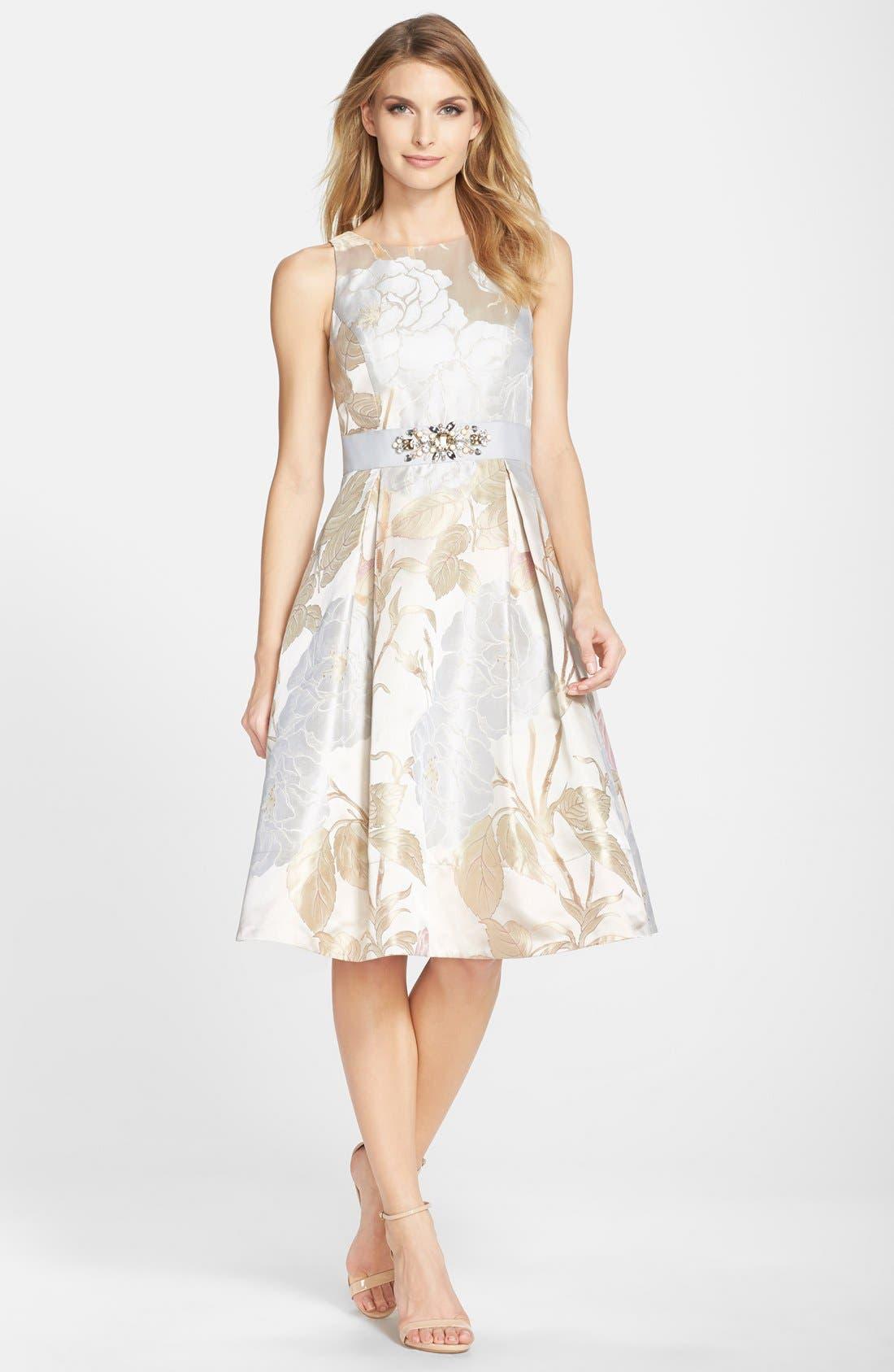 Alternate Image 3  - Eliza J Embellished Jacquard Fit & Flare Dress