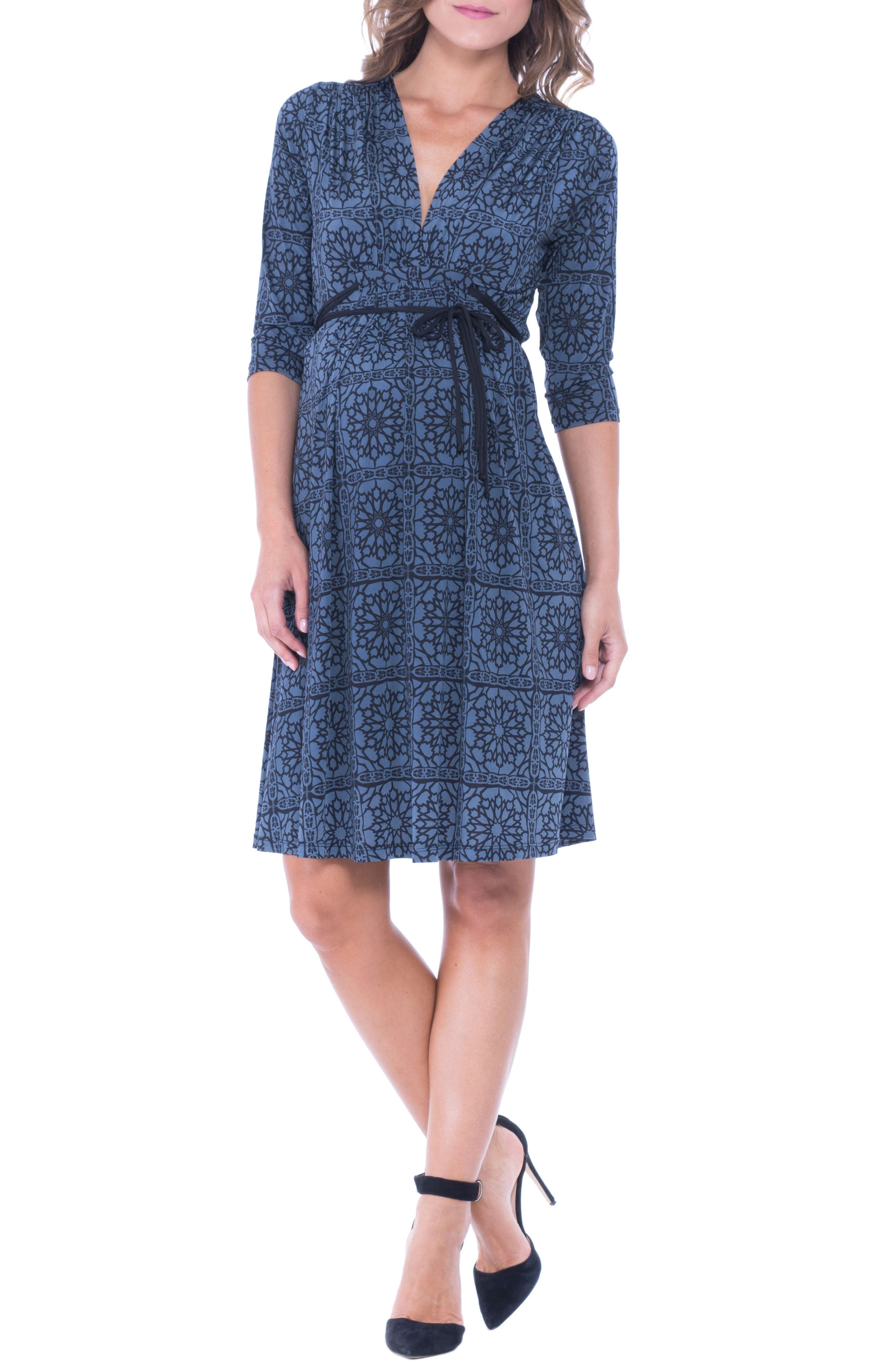 Olian Print Drawstring Maternity Dress