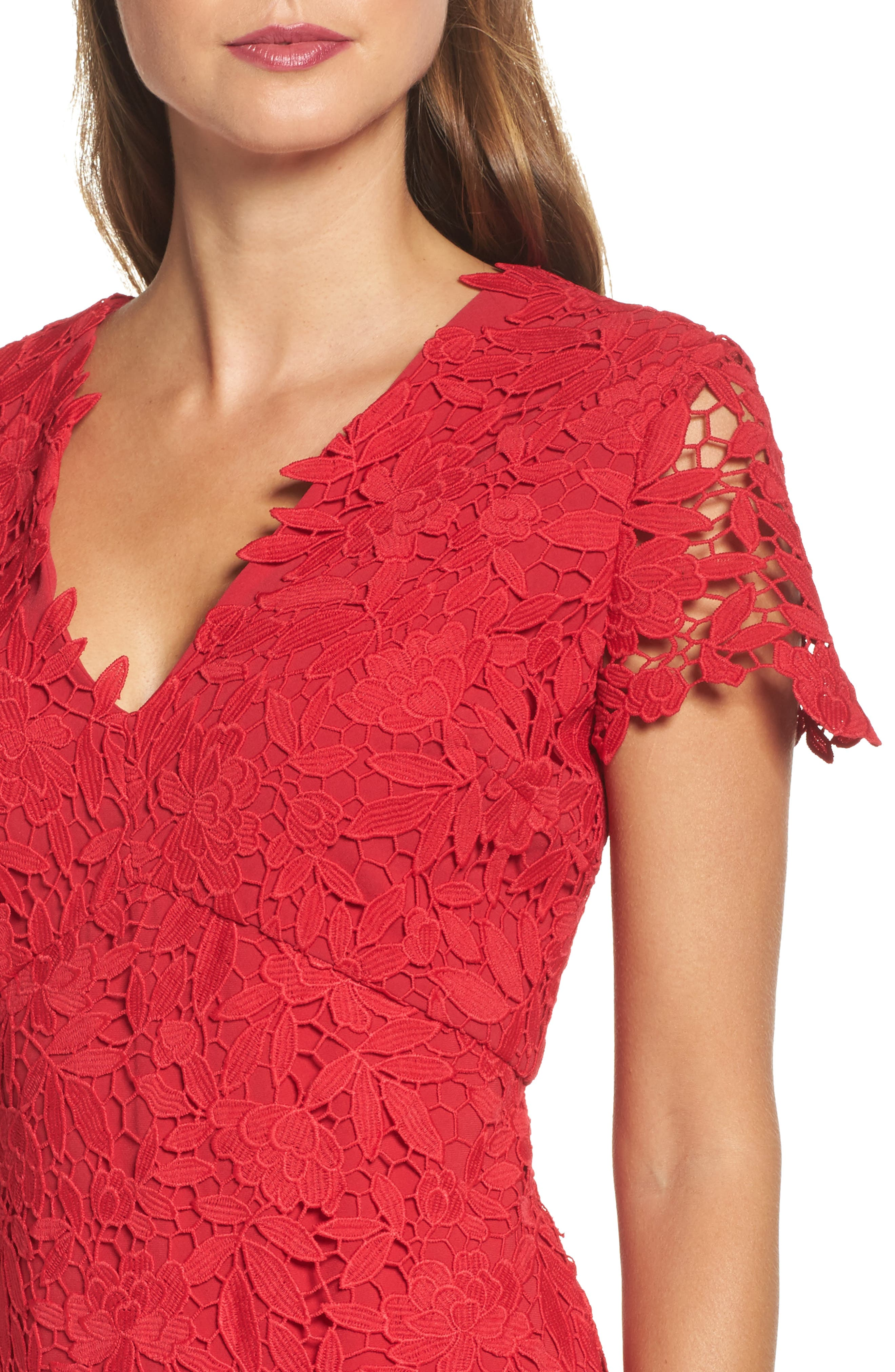 Floral Guipure High/Low Gown,                             Alternate thumbnail 4, color,                             Ruby