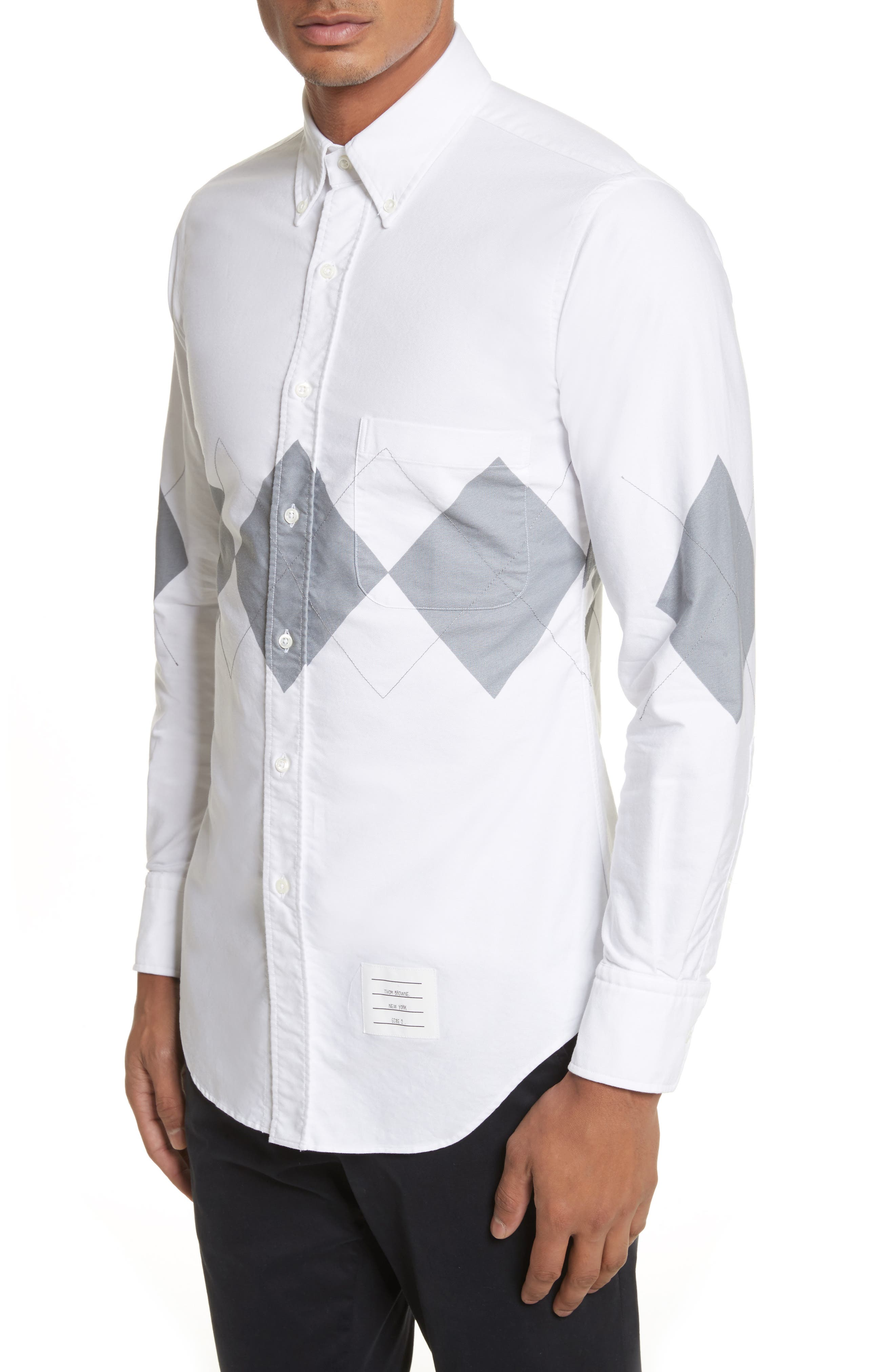 Argyle Print Woven Shirt,                             Alternate thumbnail 4, color,                             White