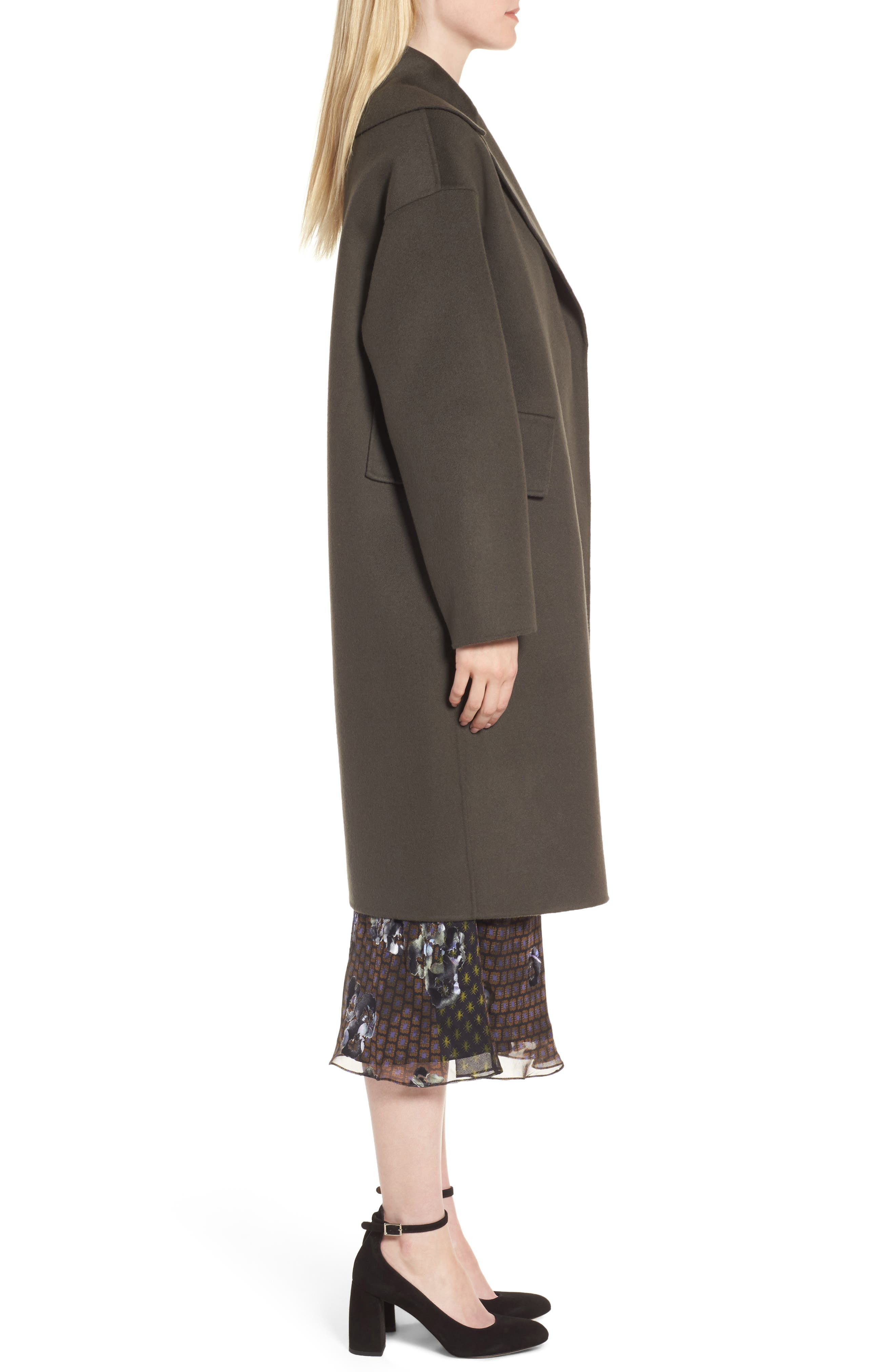 Double-Face Wool & Cashmere Coat,                             Alternate thumbnail 4, color,                             Olive Tuscan