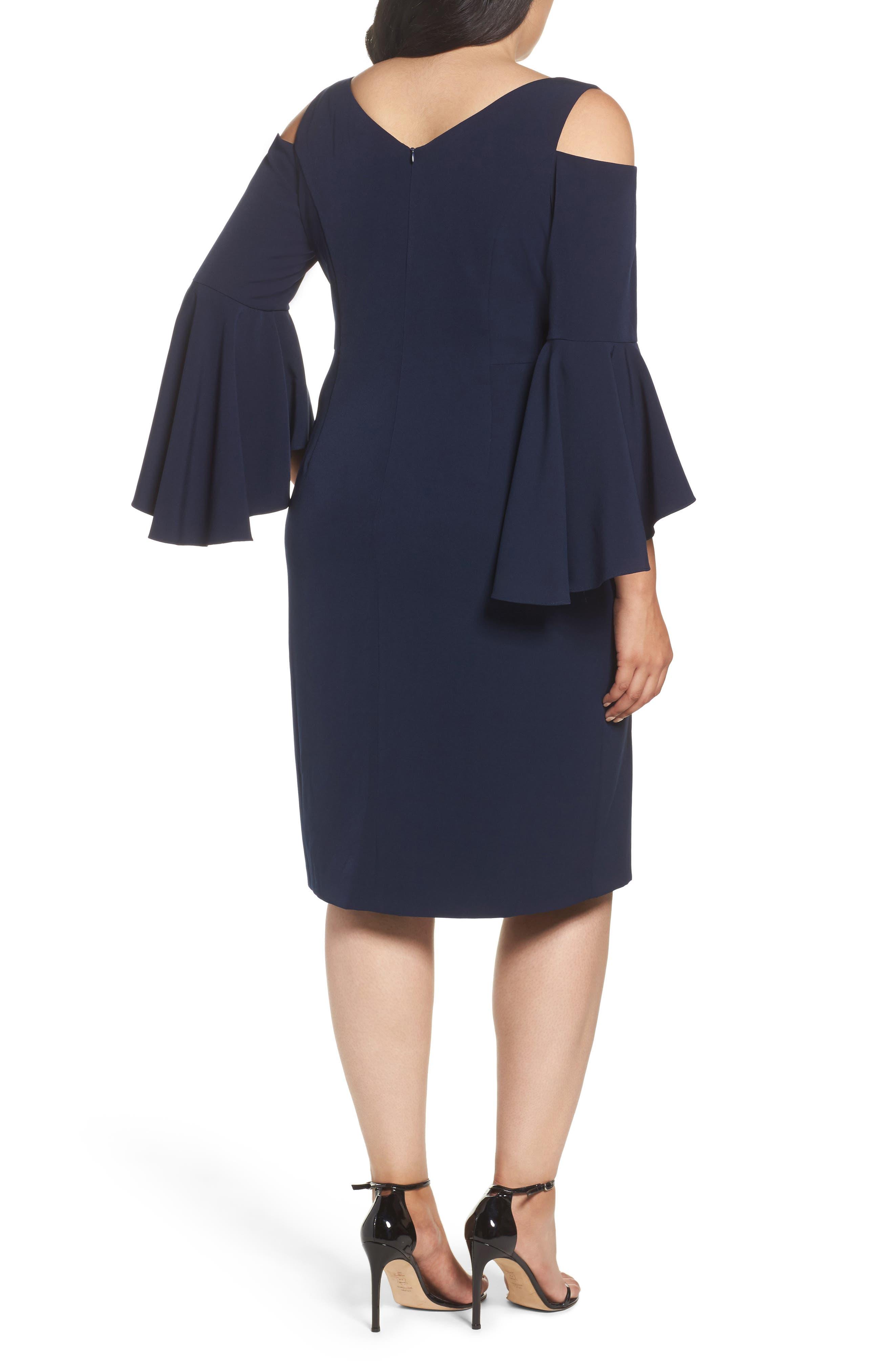 Cold Shoulder Sheath Dress,                             Alternate thumbnail 2, color,                             Patriot Blue
