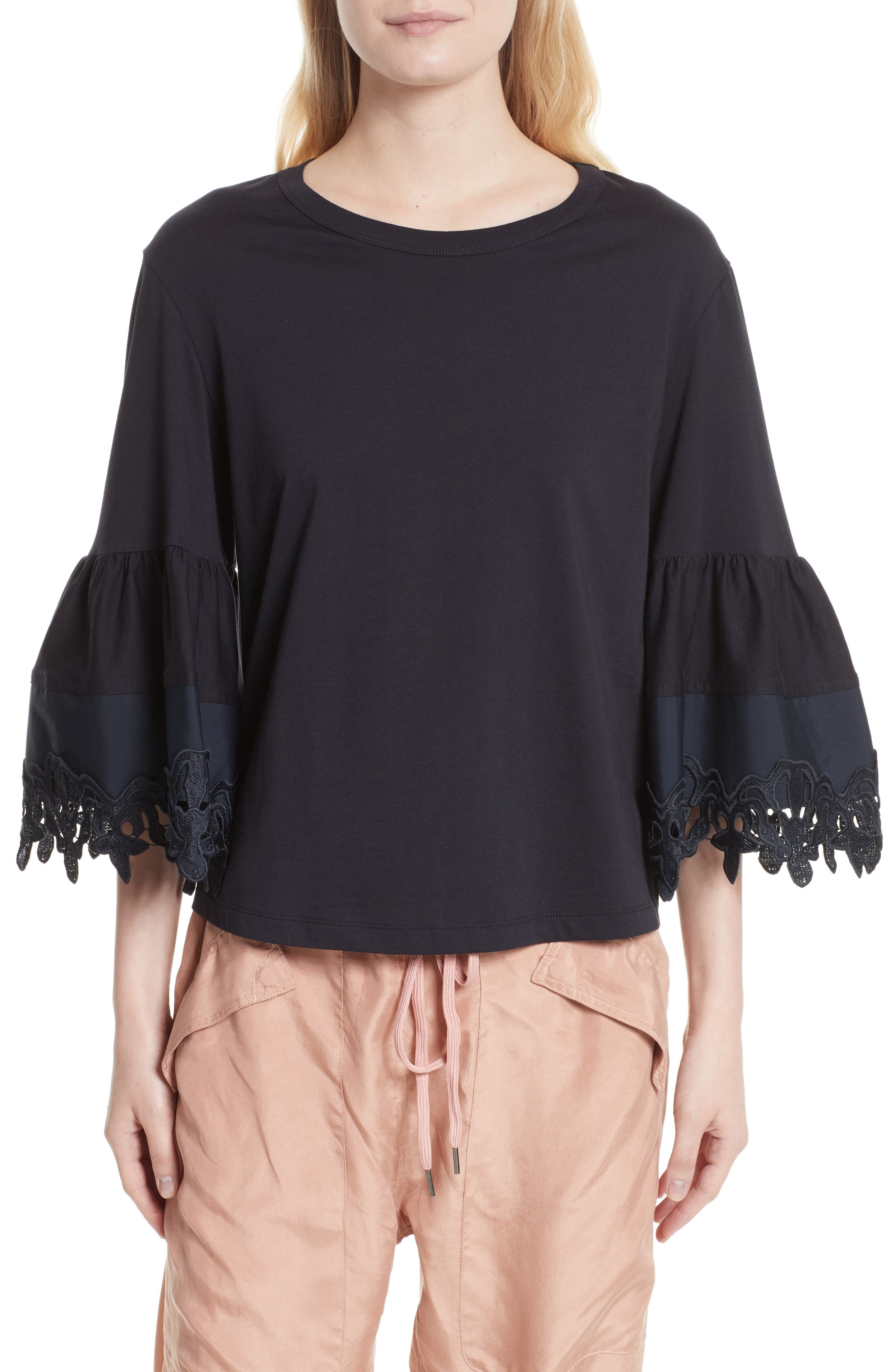 Lace Trim Bell Sleeve Top,                         Main,                         color, Black