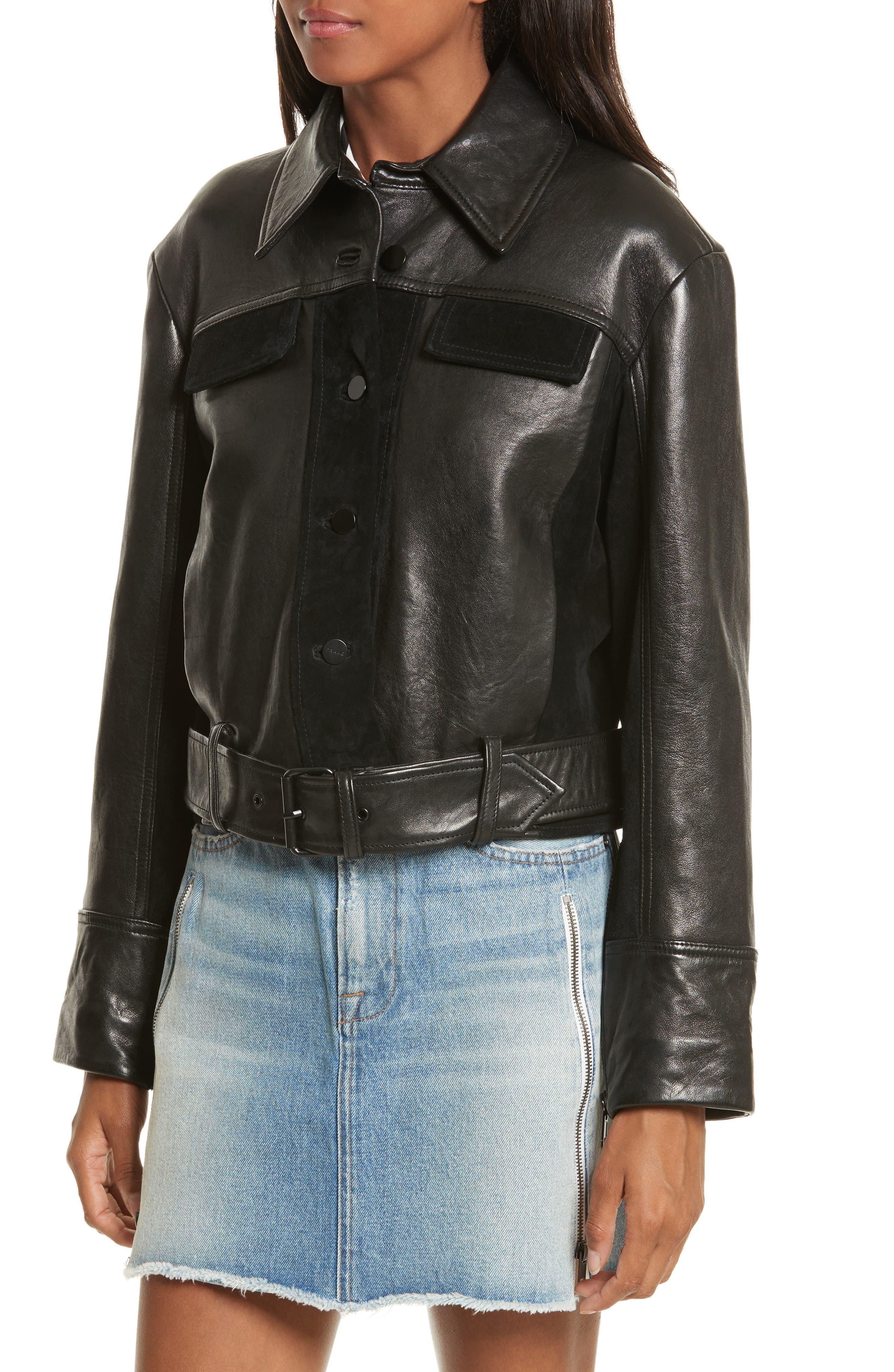 Alternate Image 4  - FRAME Paneled Leather & Suede Jacket