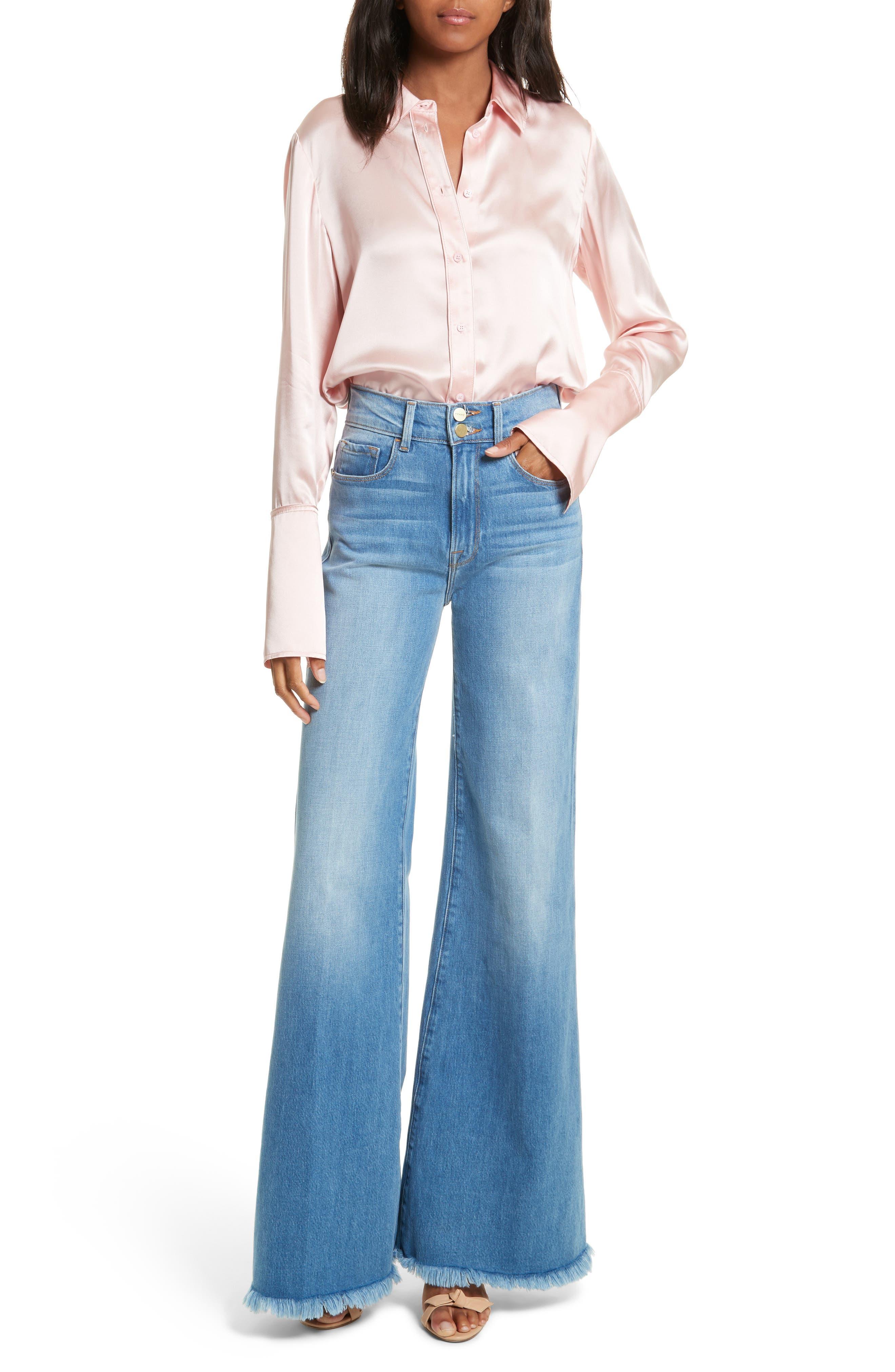 Le Palazzo High Waist Raw Edge Jeans,                             Alternate thumbnail 2, color,                             Opus
