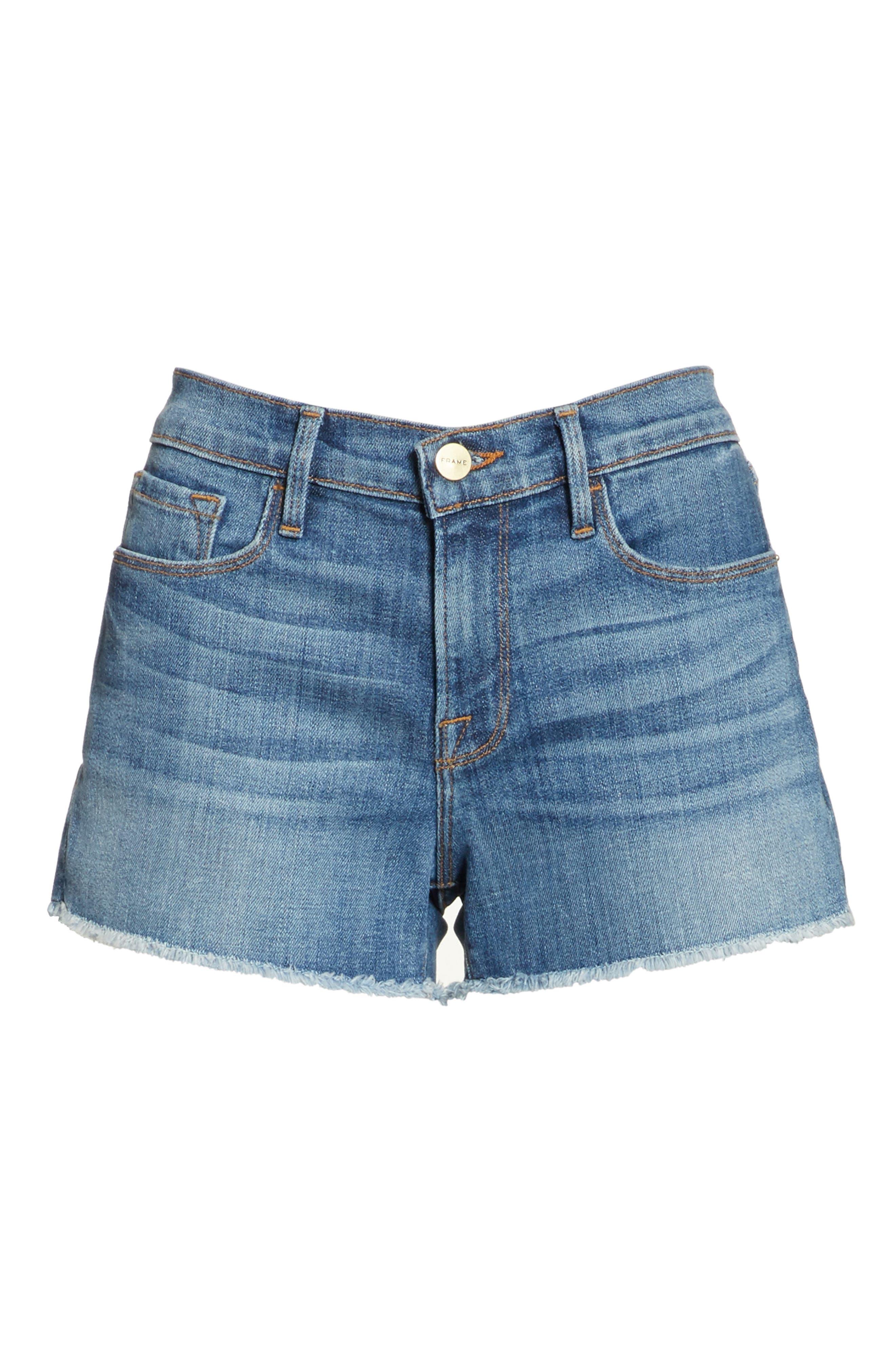 Le Cutoff Denim Shorts,                             Alternate thumbnail 6, color,                             Aldred