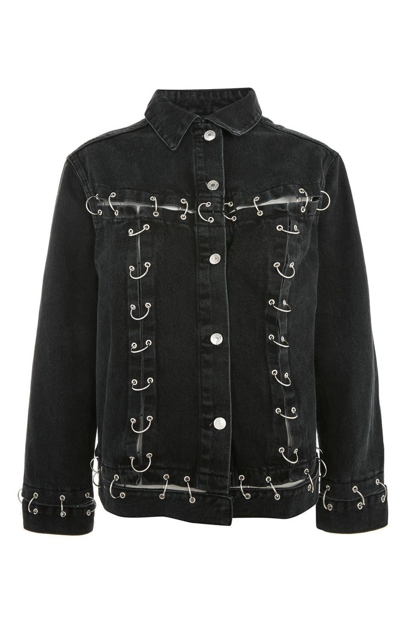 Piercing Detail Denim Jacket,                             Alternate thumbnail 4, color,                             Black
