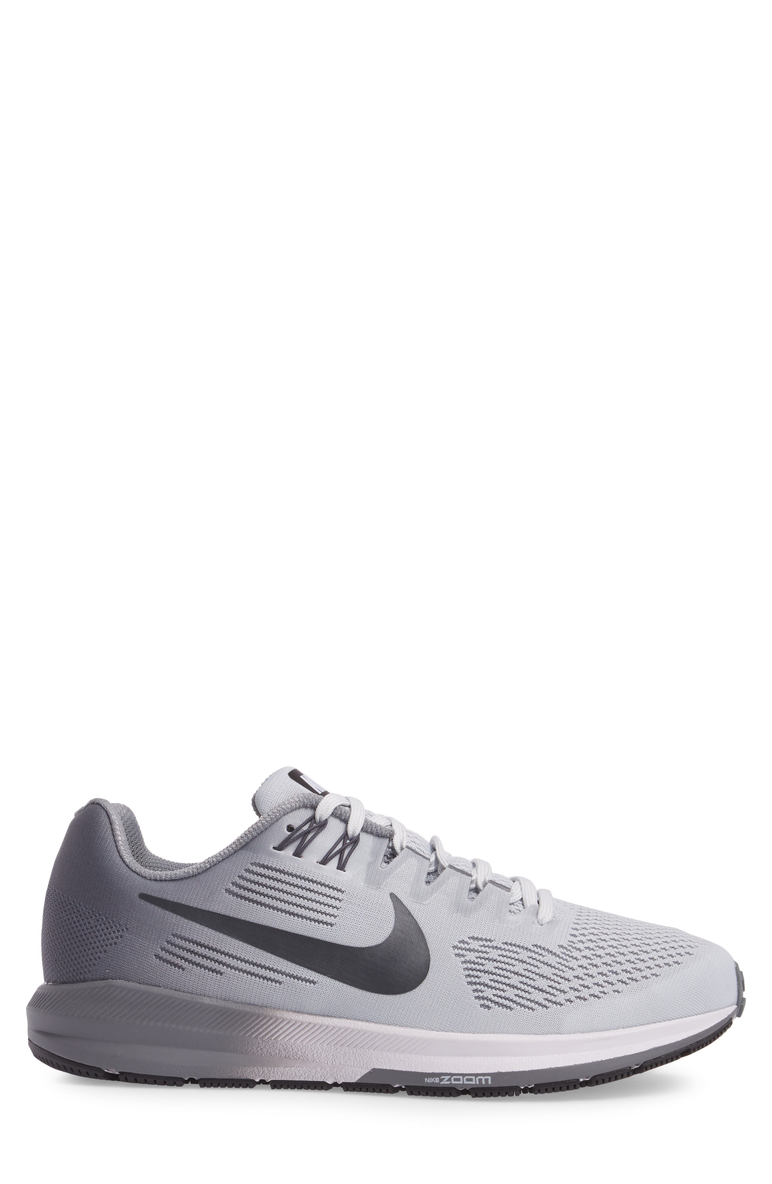 Air Zoom Structure 21 Running Shoe,                             Alternate thumbnail 3, color,                             Platinum/Anthracite/Cool Grey