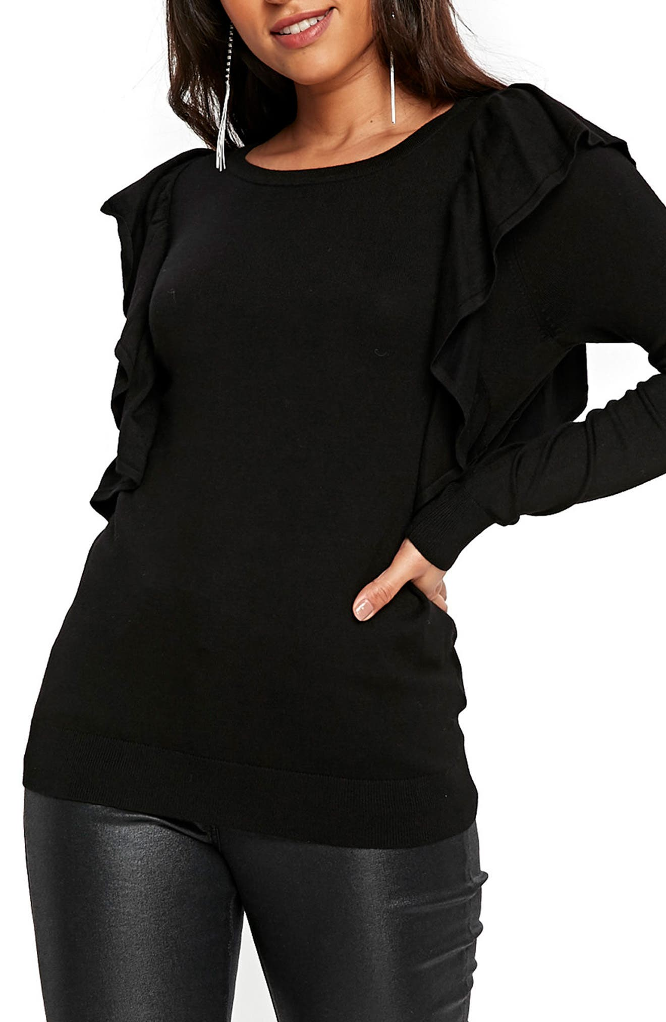 Long Sleeve Ruffle Shoulder Pullover,                         Main,                         color, Black