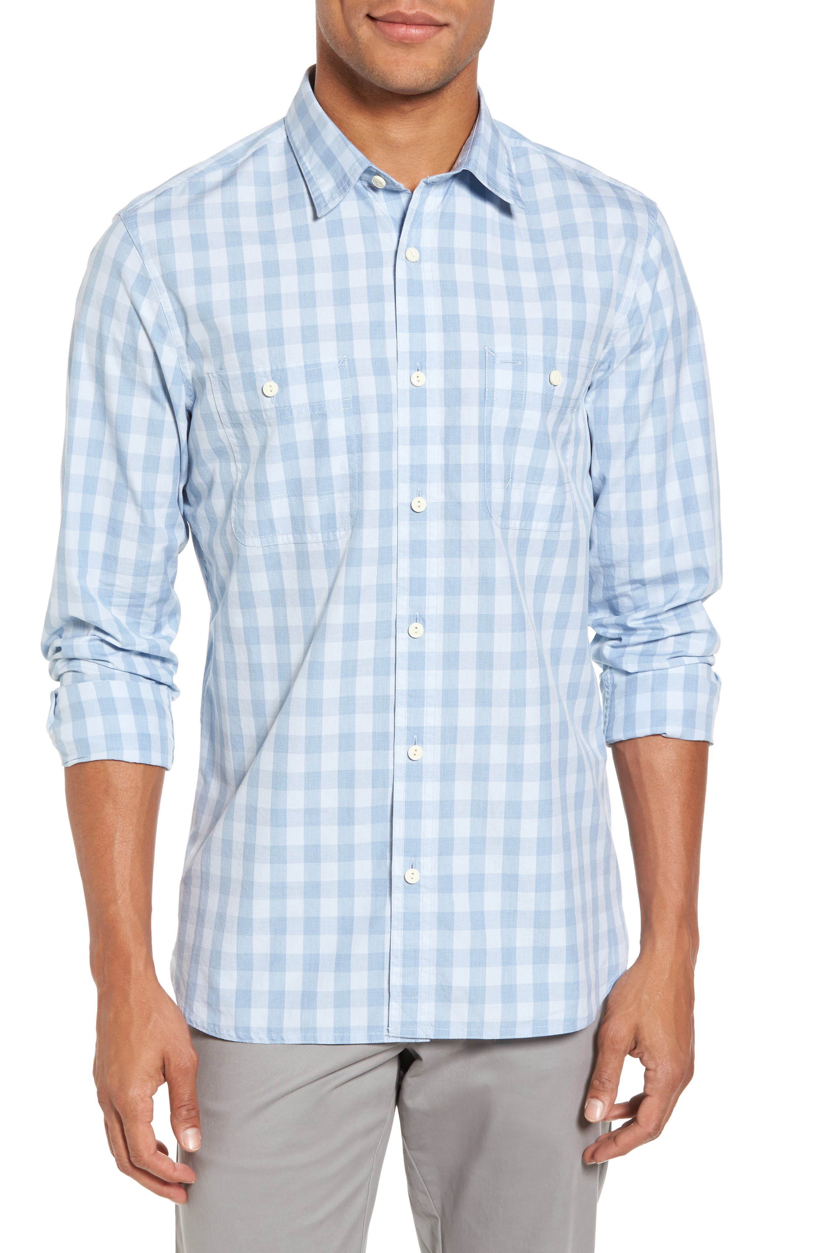 Trim Fit Washed Check Workwear Shirt,                         Main,                         color, Blue Cashmere Check