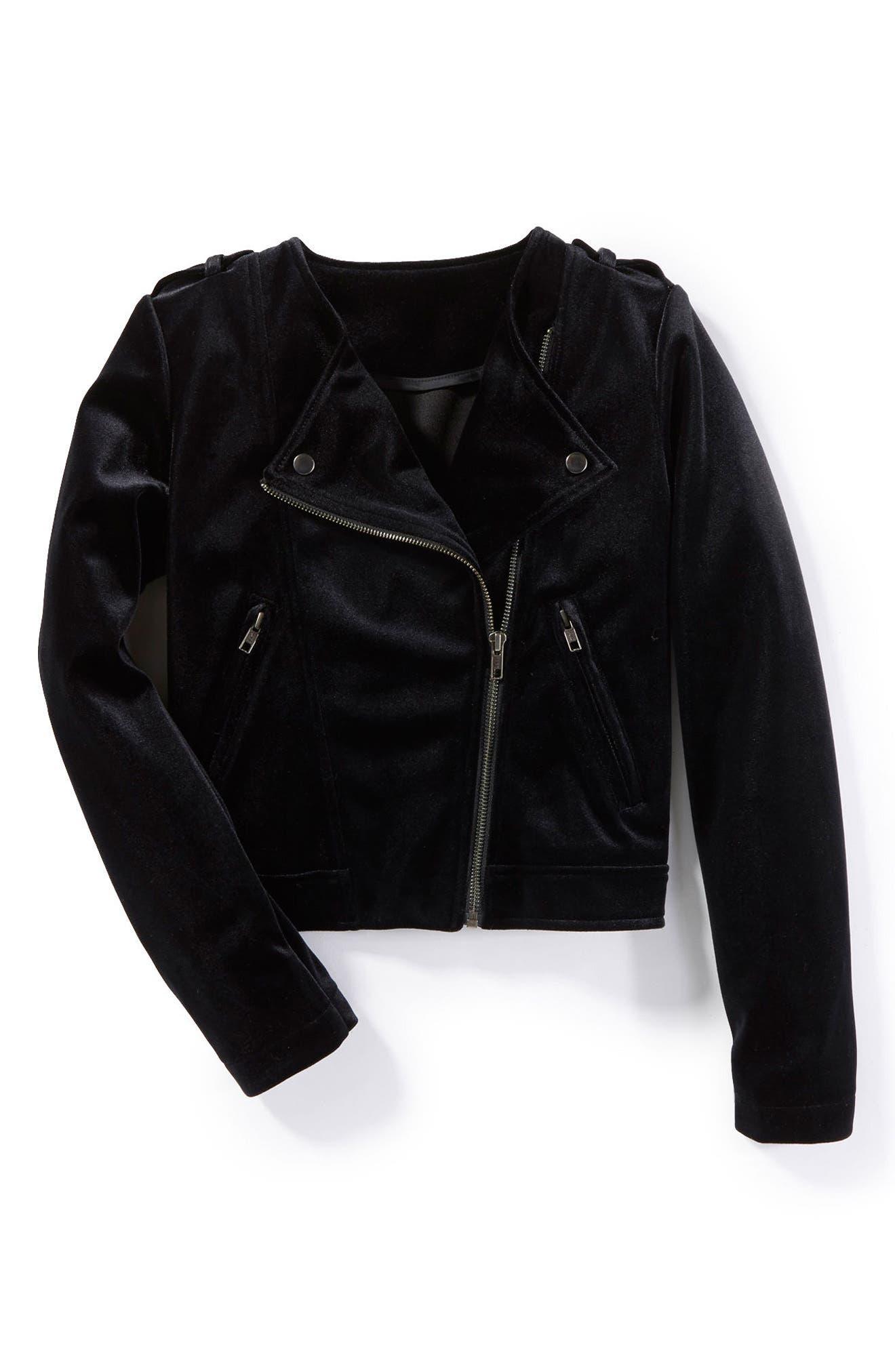 Main Image - Peek Crushed Velvet Moto Jacket (Toddler Girls, Little Girls & Big Girls)