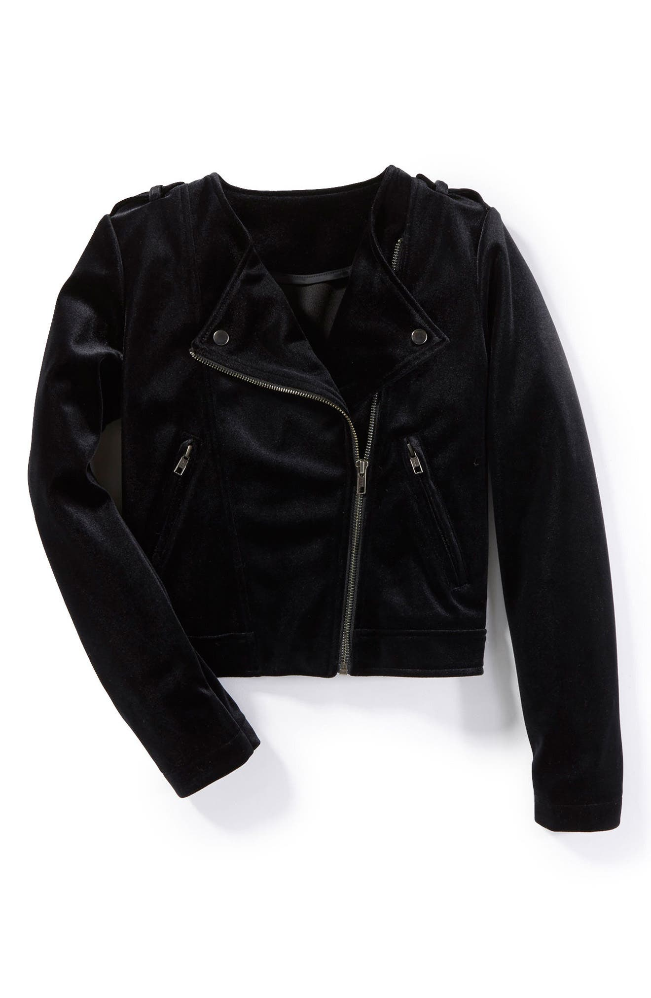 Peek Crushed Velvet Moto Jacket (Toddler Girls, Little Girls & Big Girls)