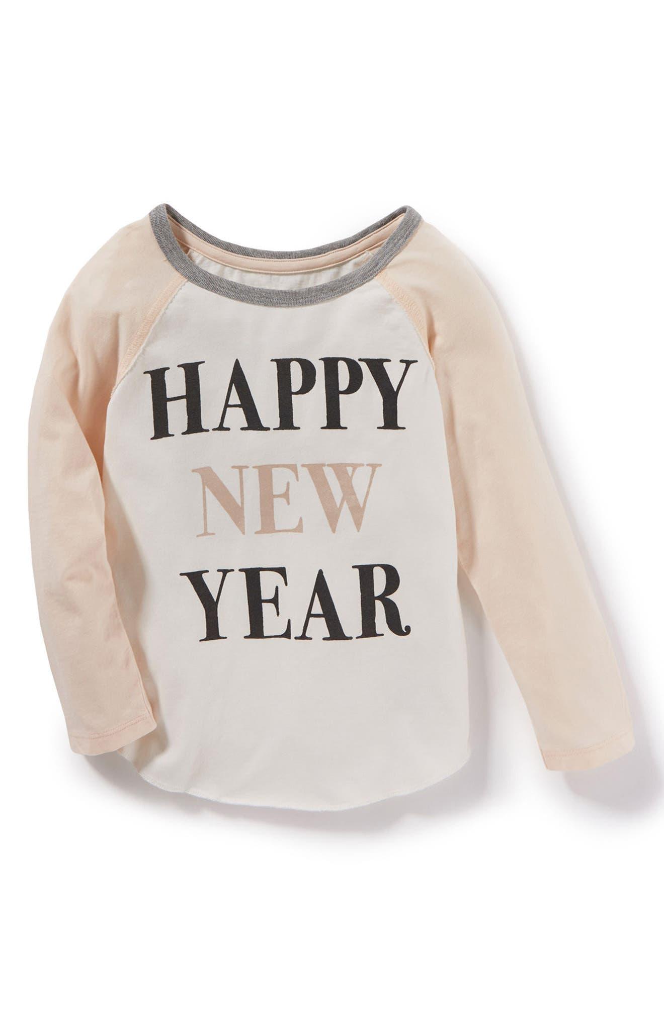 Main Image - Peek Happy New Year Graphic Tee (Toddler Girls, Little Girls & Big Girls)