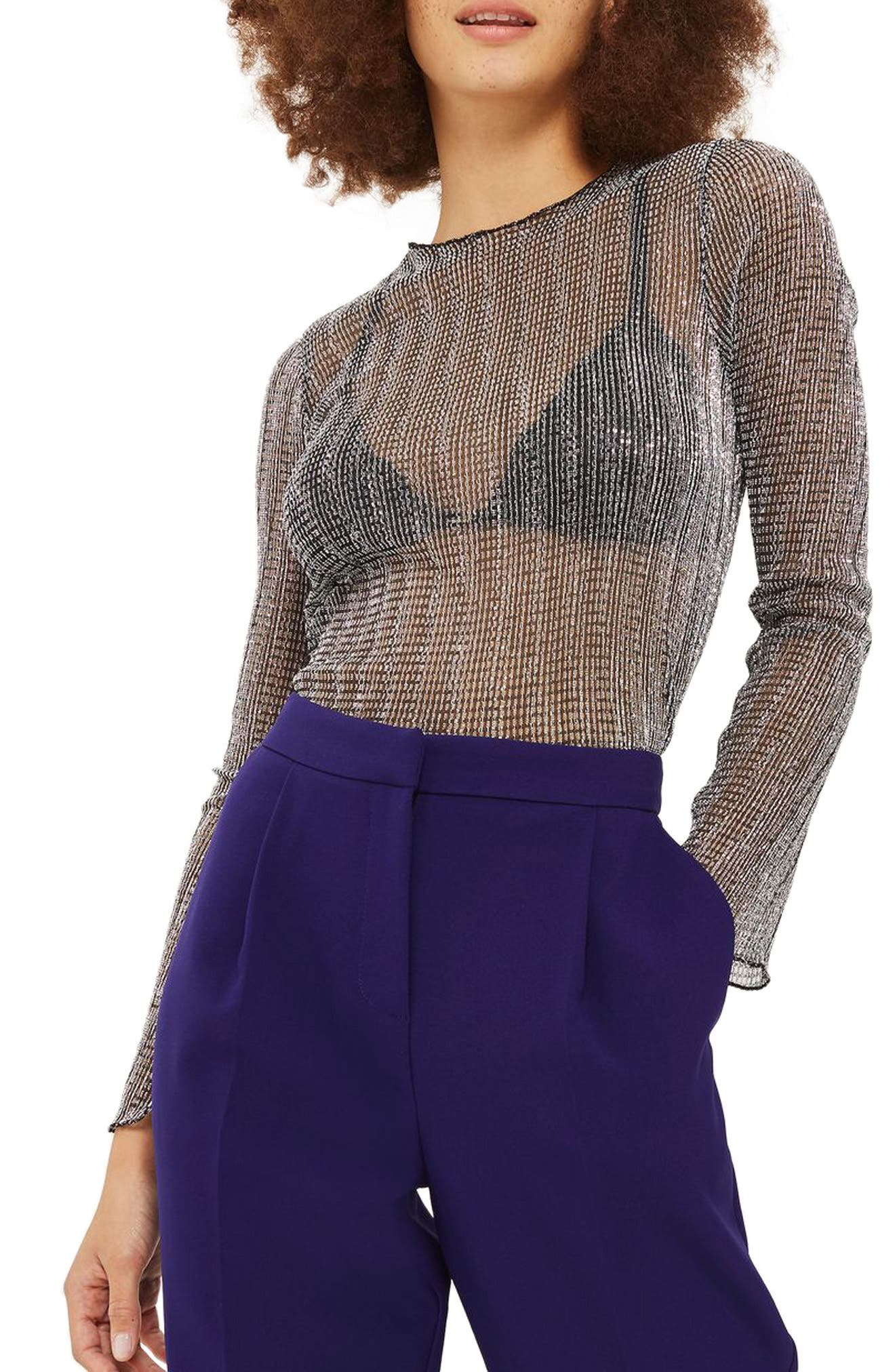 Topshop Chainmail Lettuce Edge Sheer Top