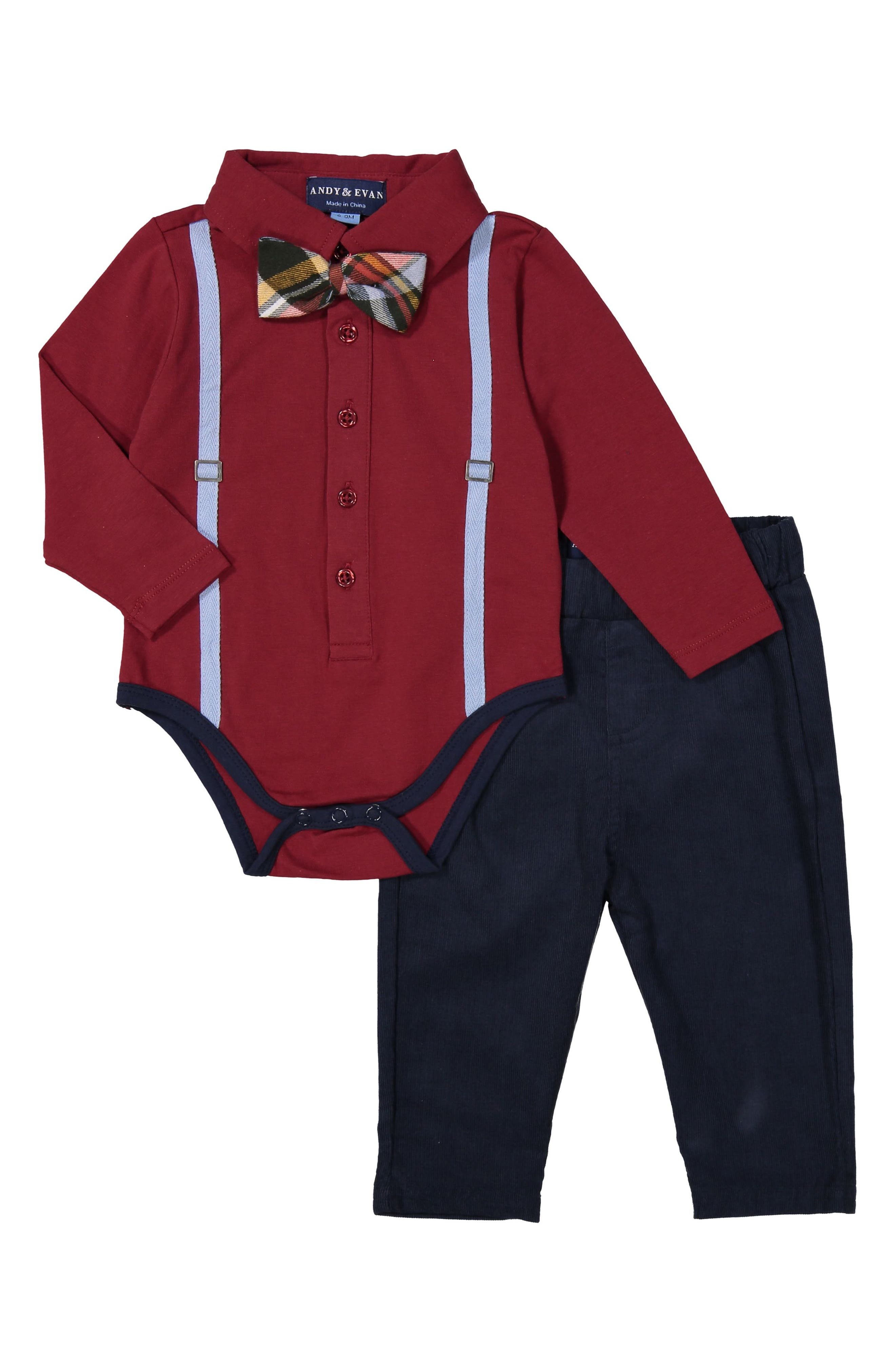 Andy & Evan Bodysuit, Bow Tie & Pants Set (Baby Boy)