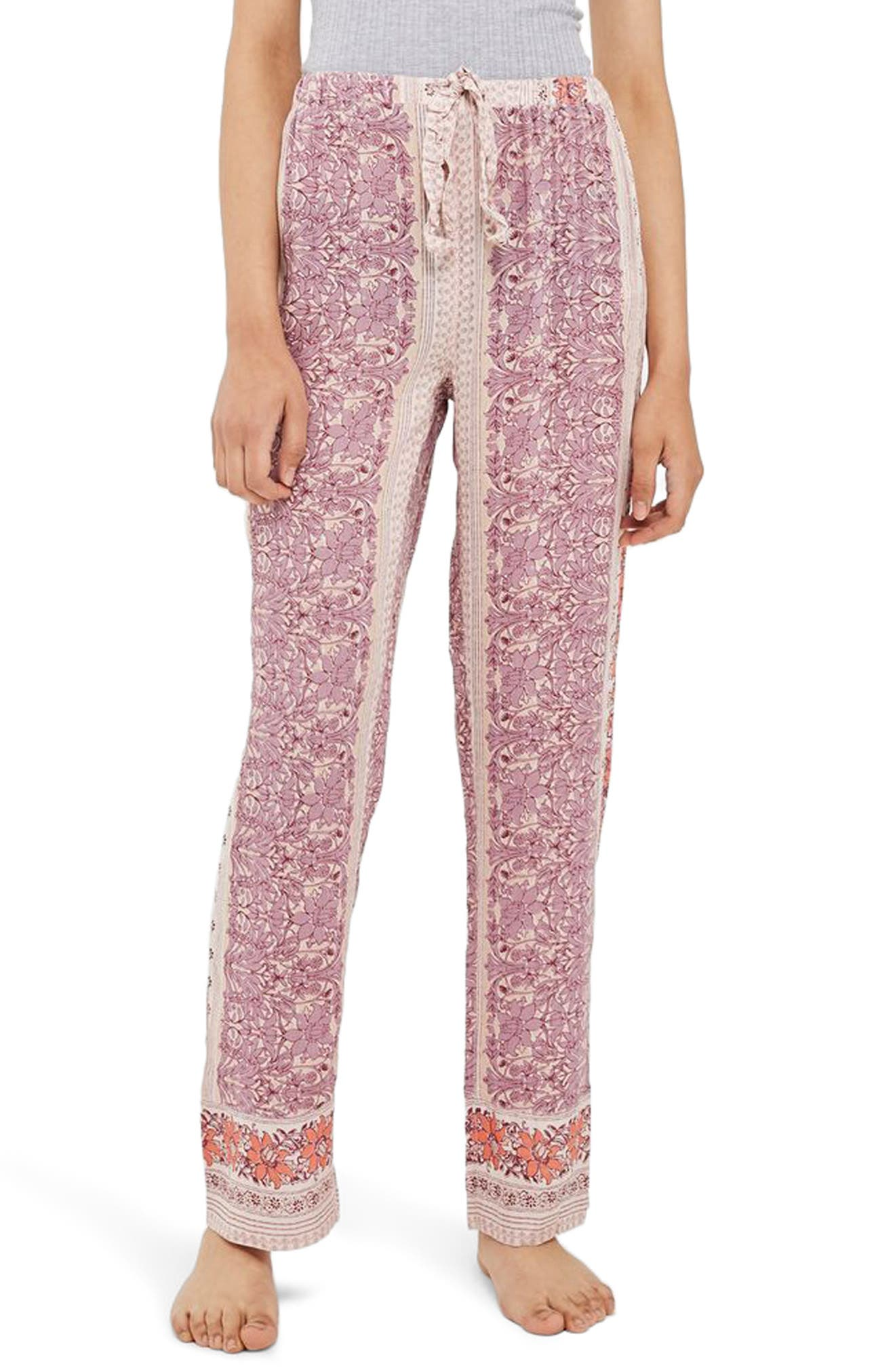 Bohemian Floral Print Pajama Pants,                             Main thumbnail 1, color,                             Lilac Multi