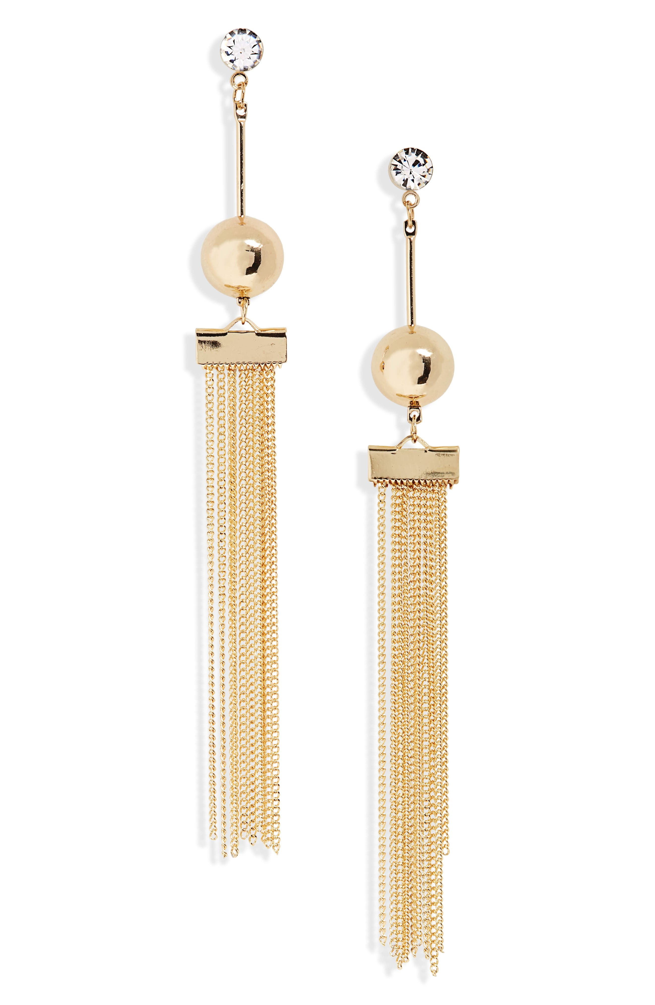 Ball and Chain Earrings,                         Main,                         color, Gold
