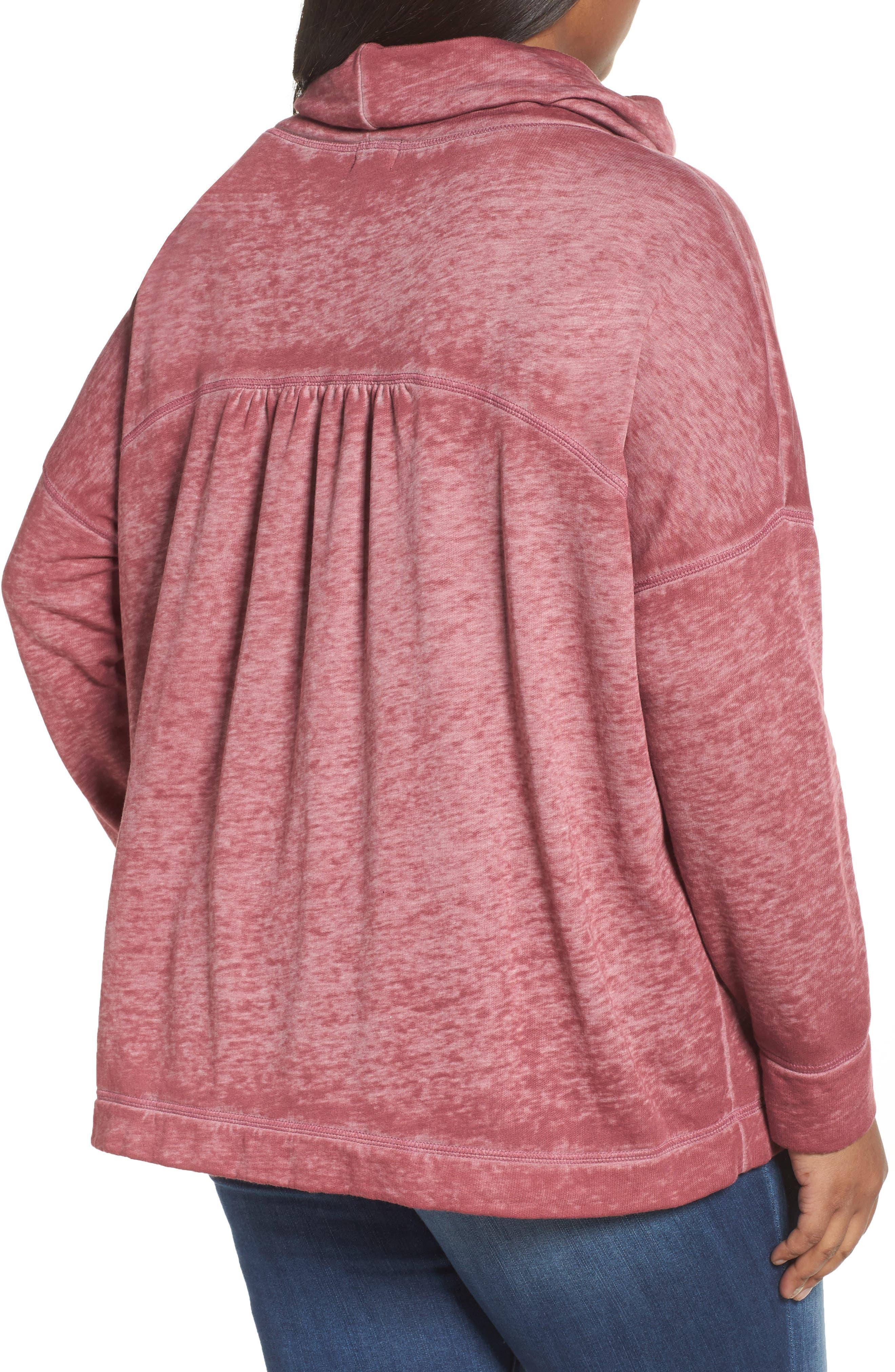 Pleat Back Sweatshirt,                             Alternate thumbnail 2, color,                             Burgundy Thorn
