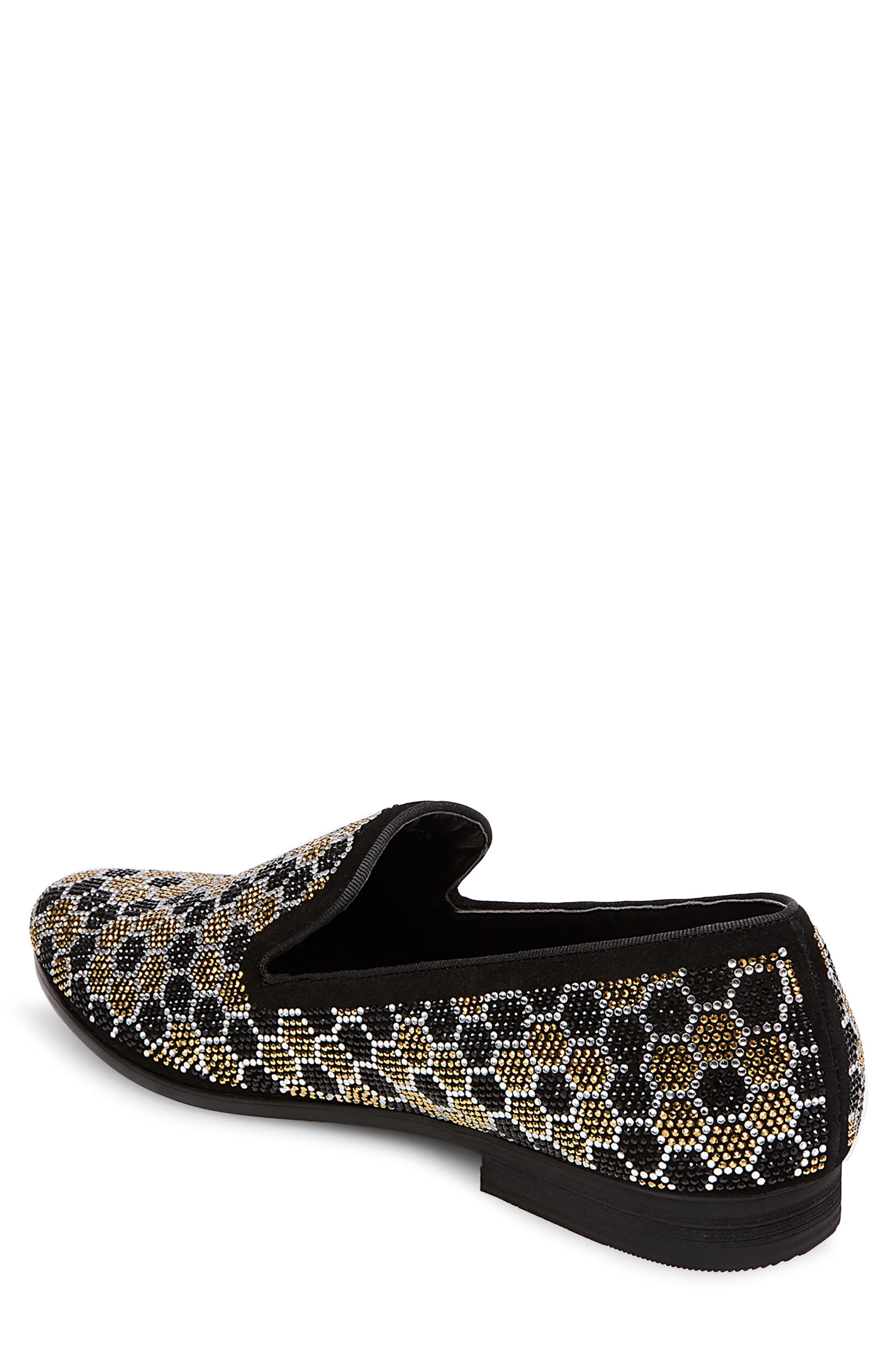 Caspian Studded Venetian Loafer,                             Alternate thumbnail 2, color,                             Black/ Gold