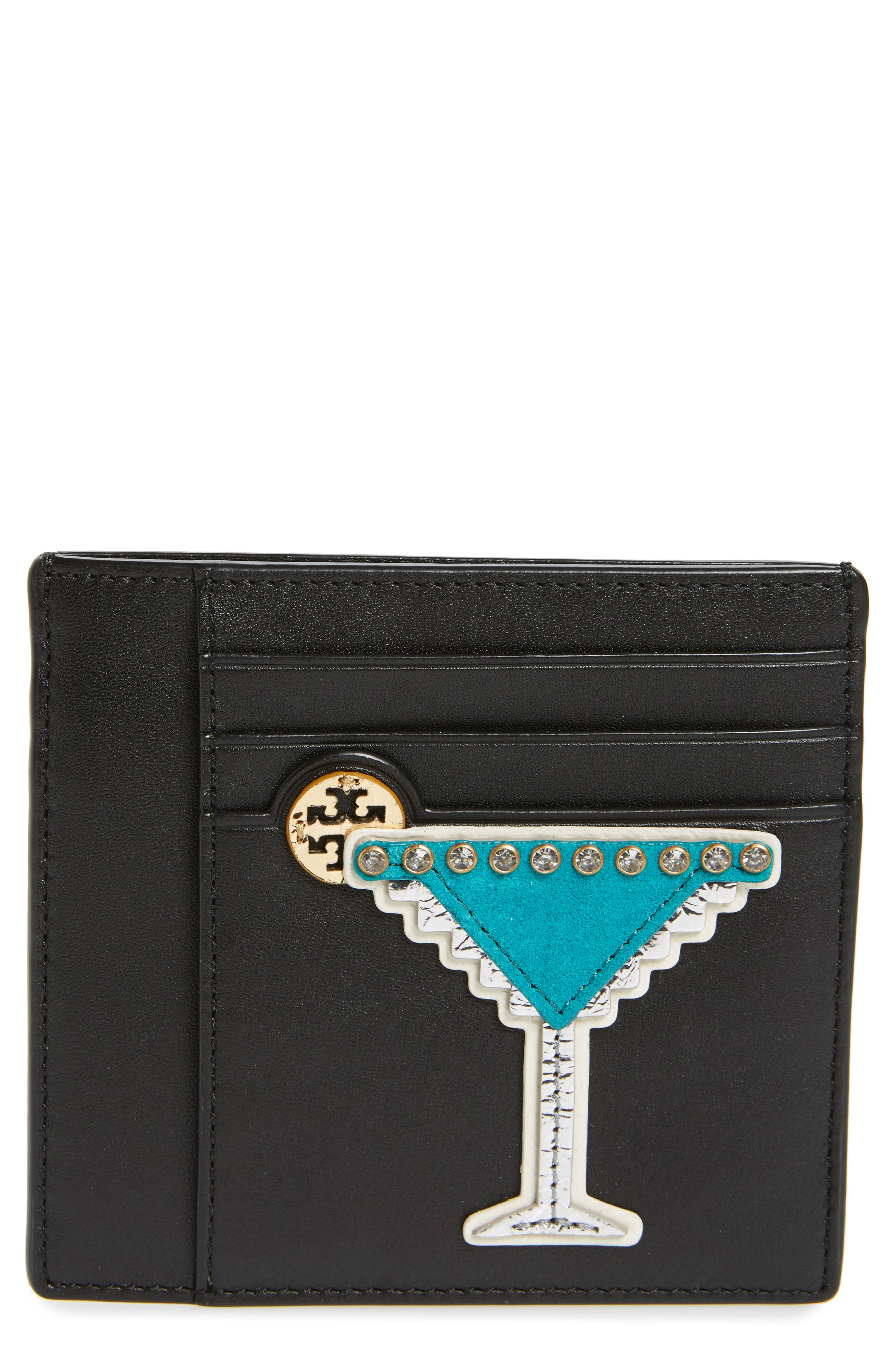 Main Image - Tory Burch Martini Appliqué Leather Card Case