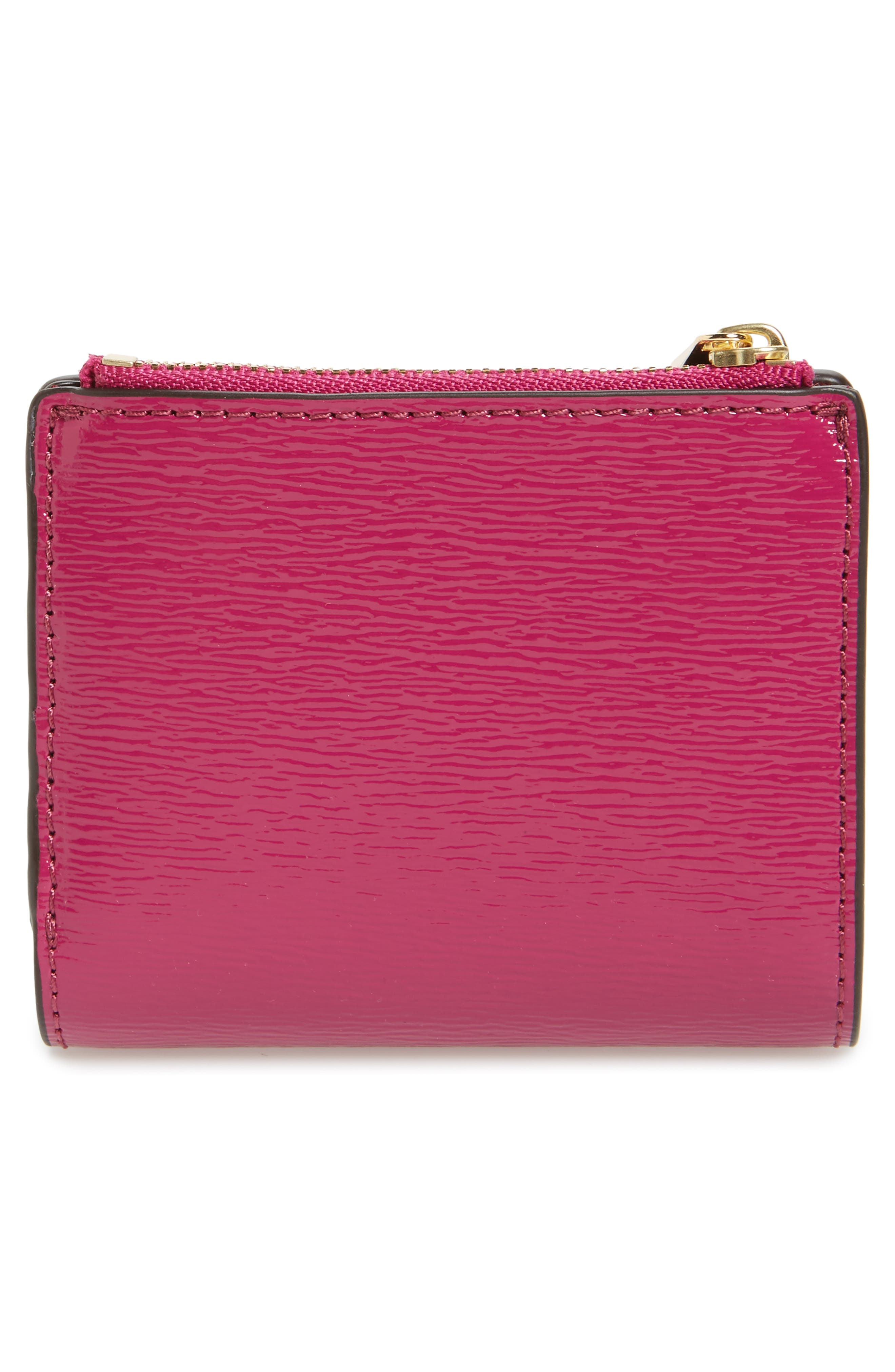 Mini Robinson Wallet Patent Leather Bifold Wallet,                             Alternate thumbnail 4, color,                             Party Fuchsia