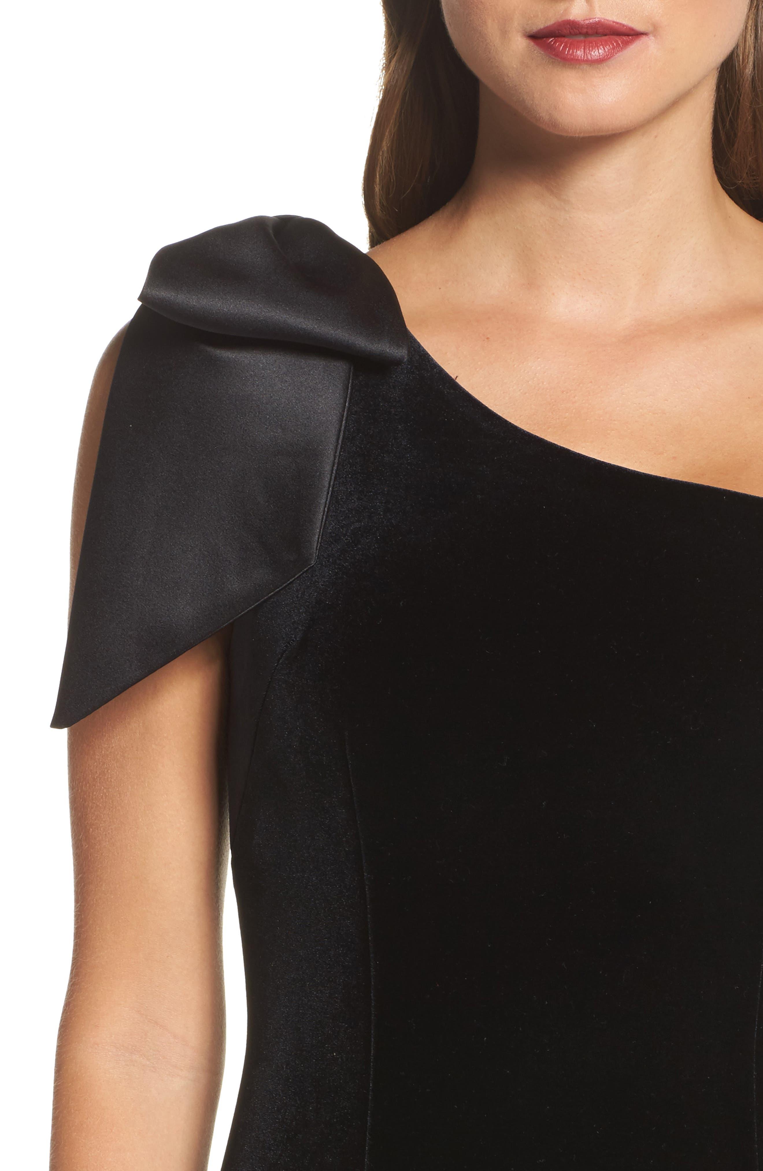 Bow One-Shoulder Velvet Gown,                             Alternate thumbnail 5, color,                             Black