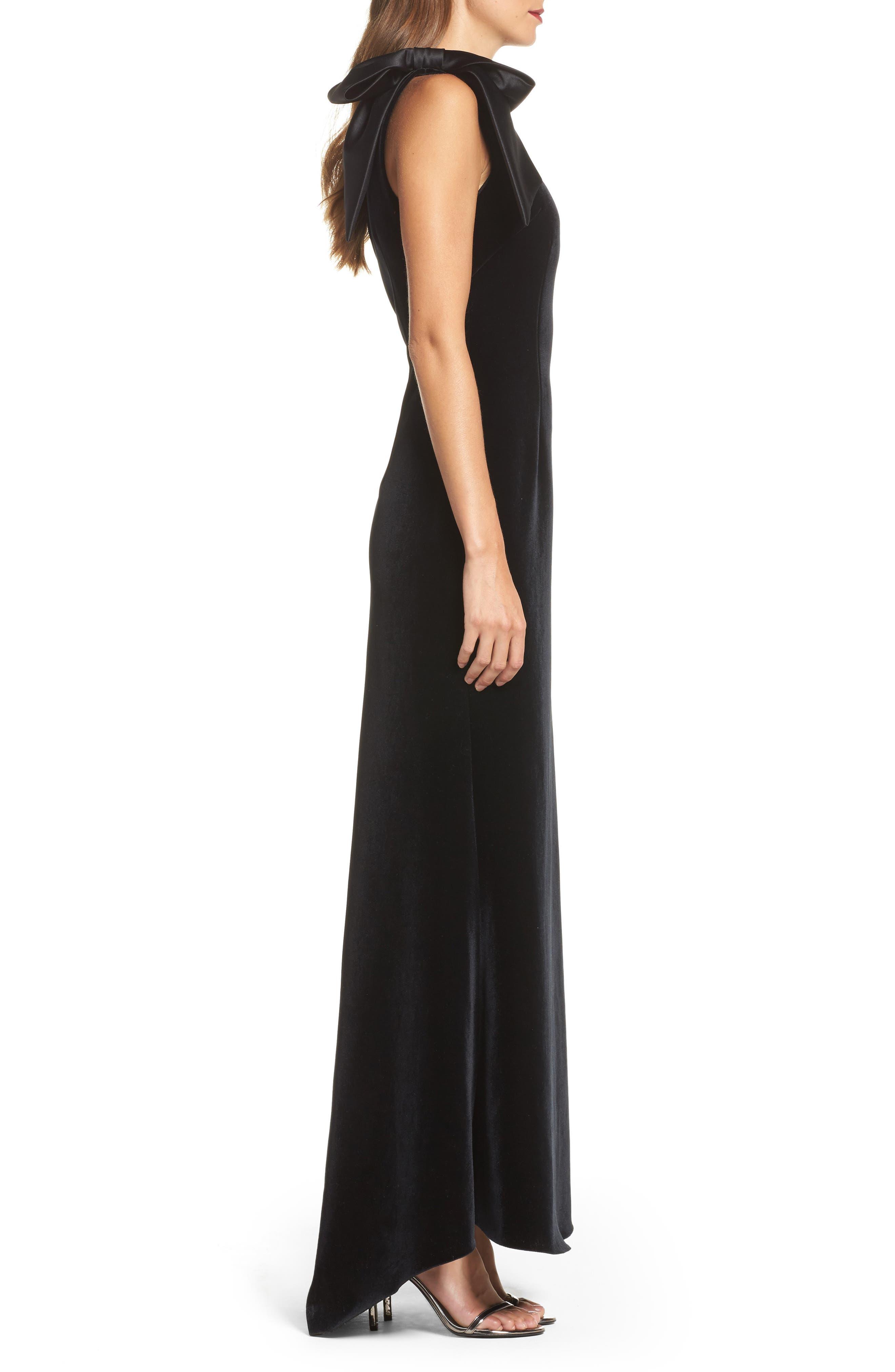 Bow One-Shoulder Velvet Gown,                             Alternate thumbnail 4, color,                             Black