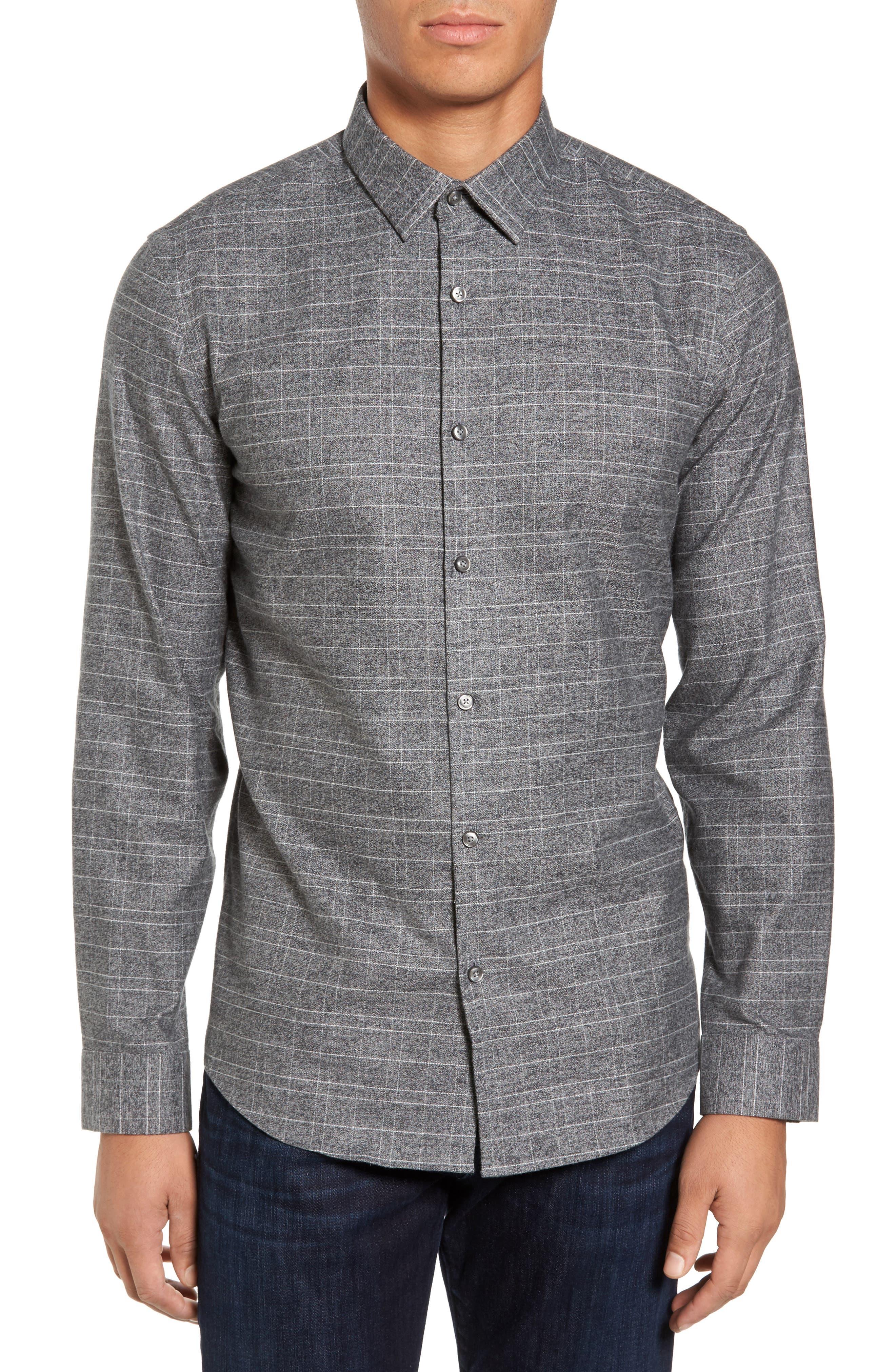 Trim Fit Check Sport Shirt,                         Main,                         color, Grey Cloudburst White Grid