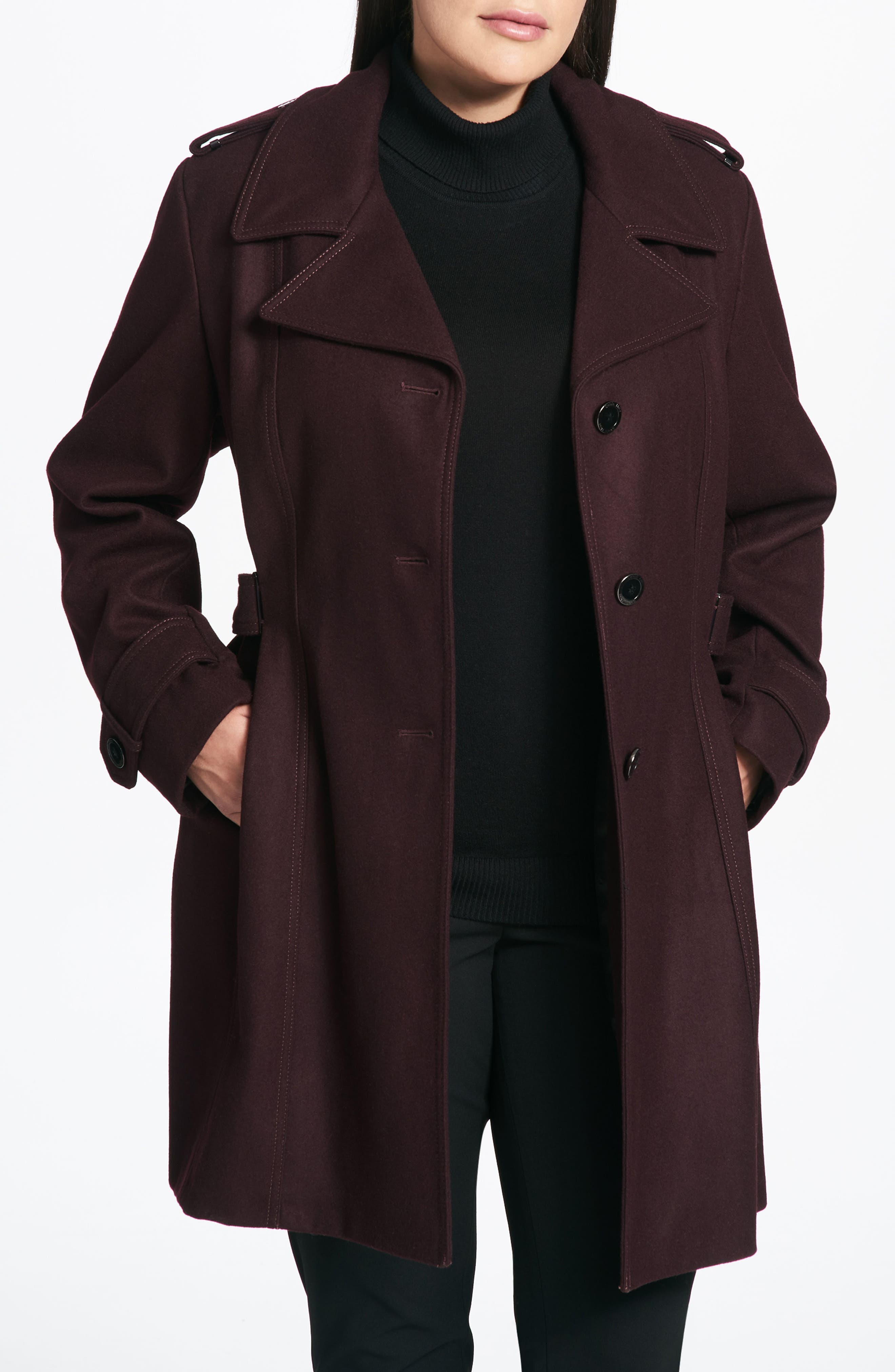 Single Breasted Wool Blend Trench Coat,                             Alternate thumbnail 3, color,                             Burgundy